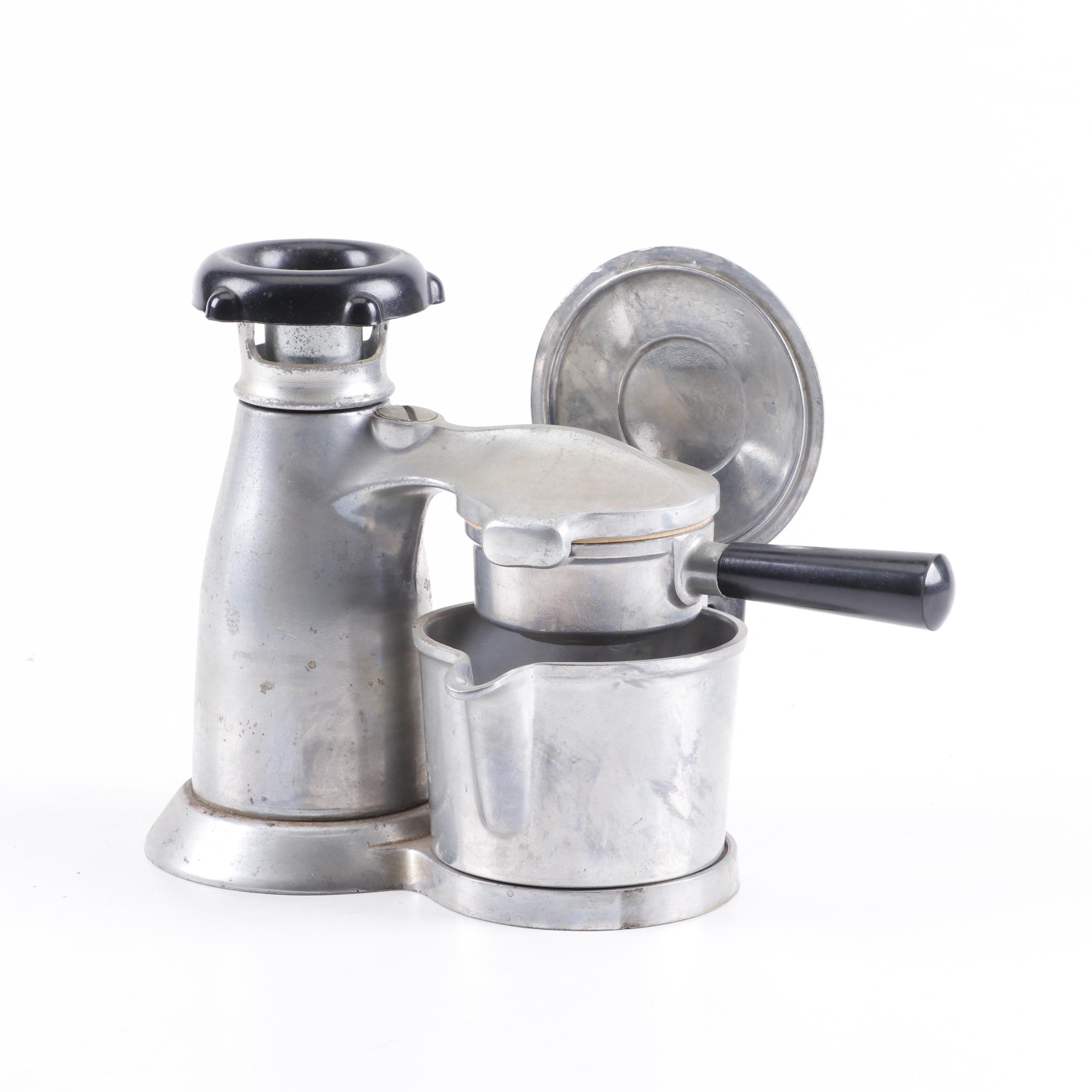 Mid-Century Vesuviana Metal Stovetop Espresso Maker