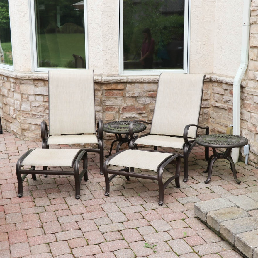 Cast Metal Patio Chairs Ottomans End Tables And Bar By Tropitone