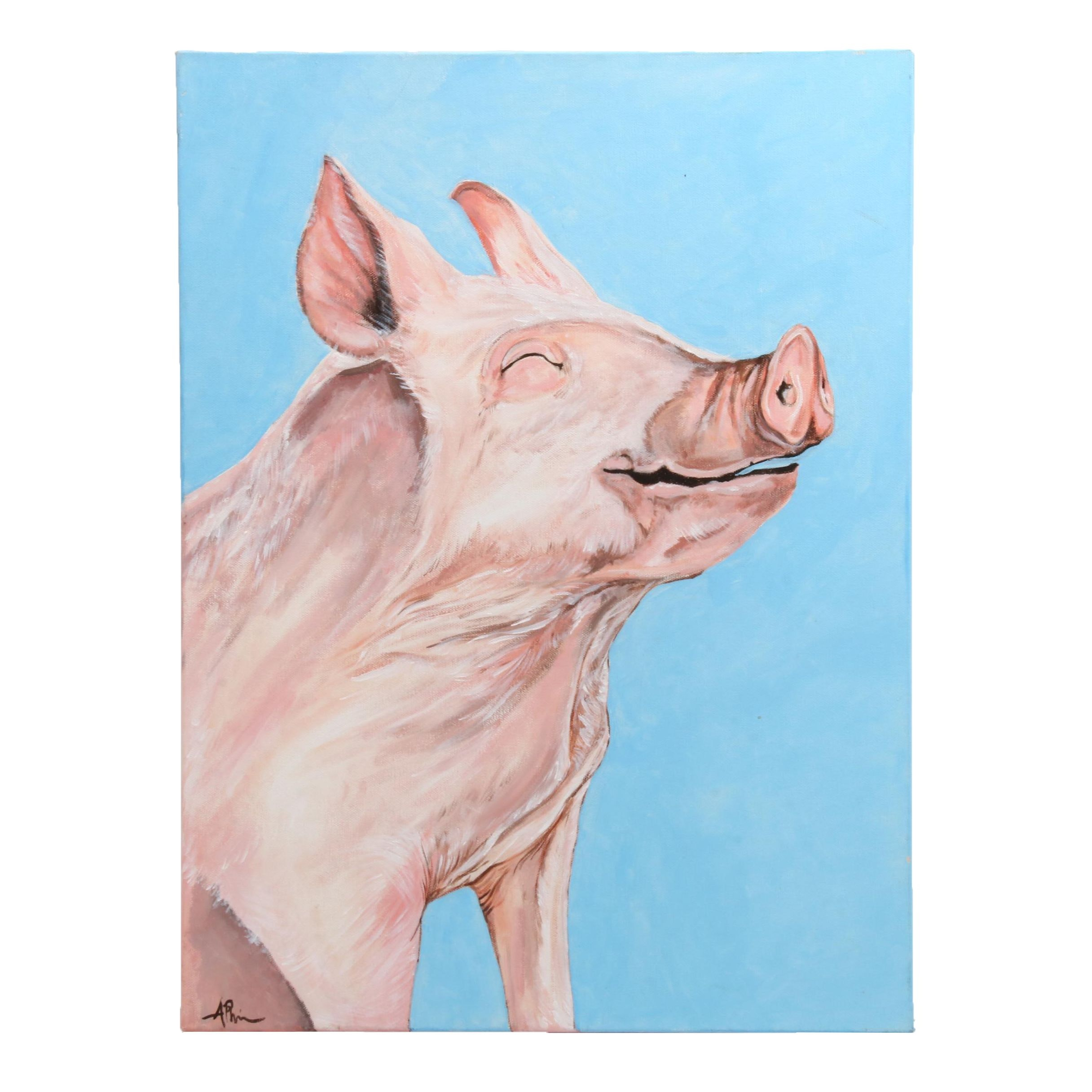 Angela Phipps Acrylic Painting of Content Pig