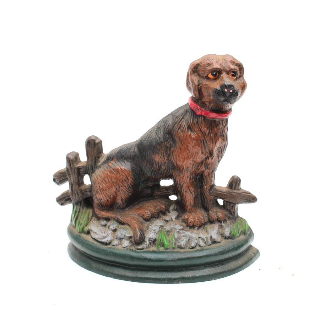 Painted Cast Iron Dog