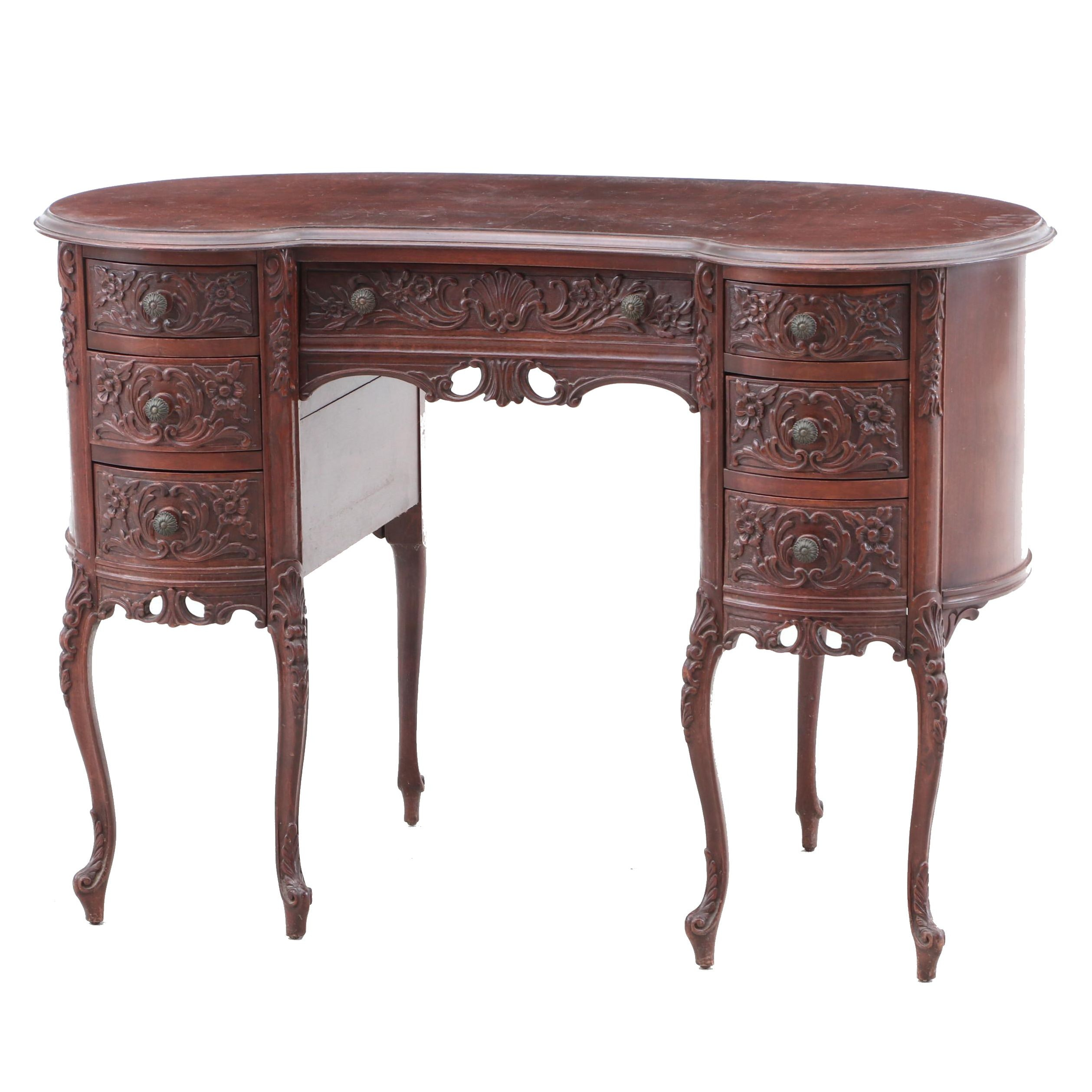 1930s Carved Walnut Desk