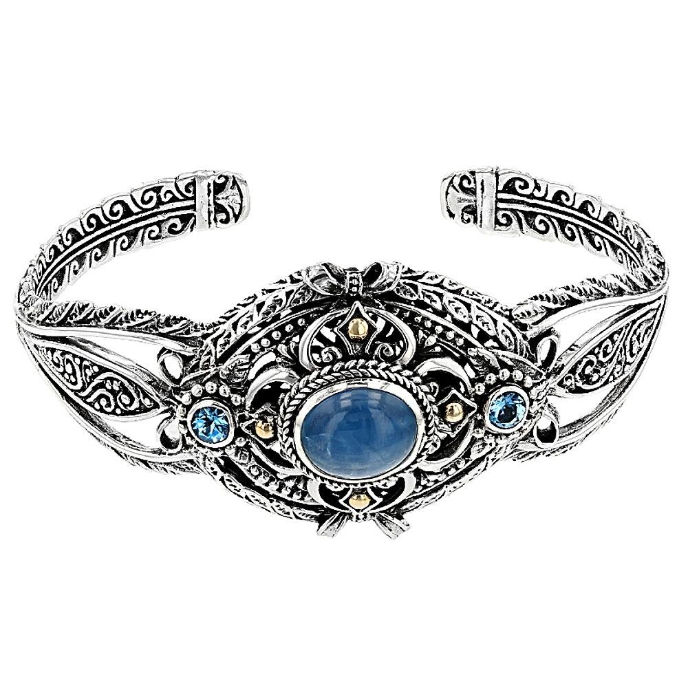 Sterling Silver Aquamarine and Topaz Cuff Bracelet