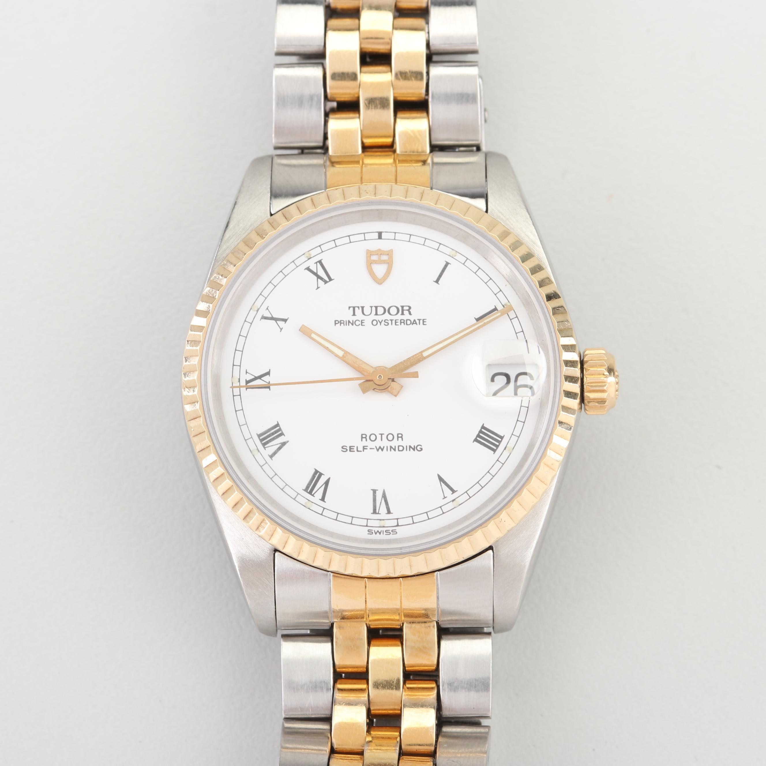 Tudor Prince Oysterdate 14K Yellow Gold and Stainless Steel Wristwatch