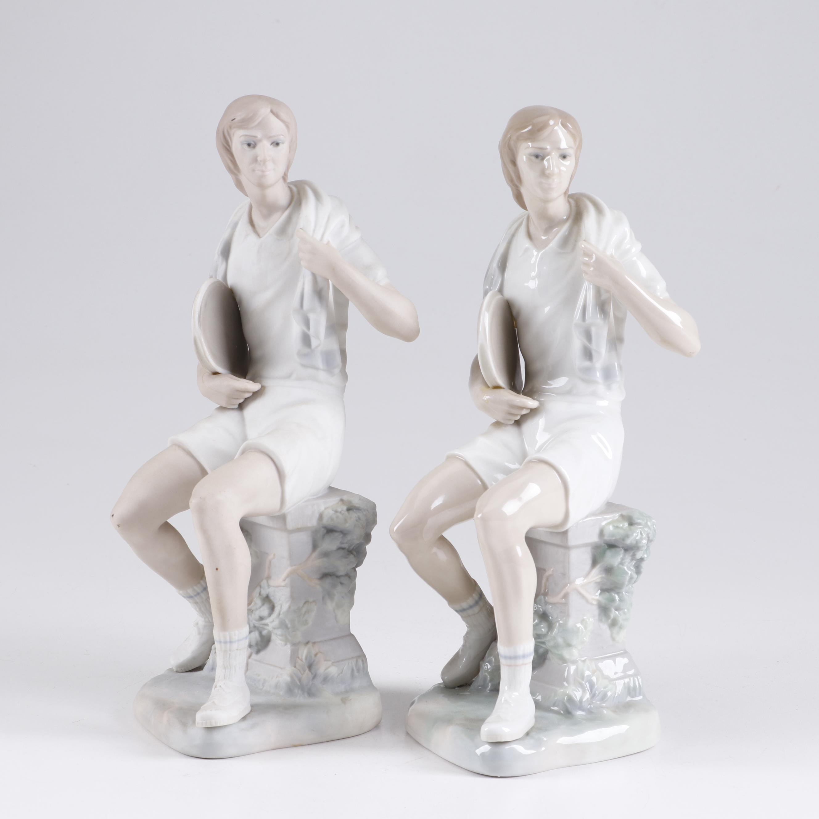 """Lladro Porcelain and Bisque """"Boy Tennis Player"""" Figurines"""