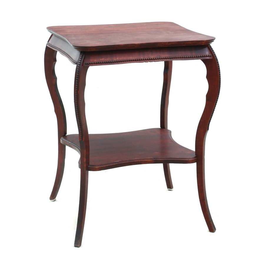 Late Victorian Mahogany-Stained Birch Two-Tier Side Table, Early 20th Century
