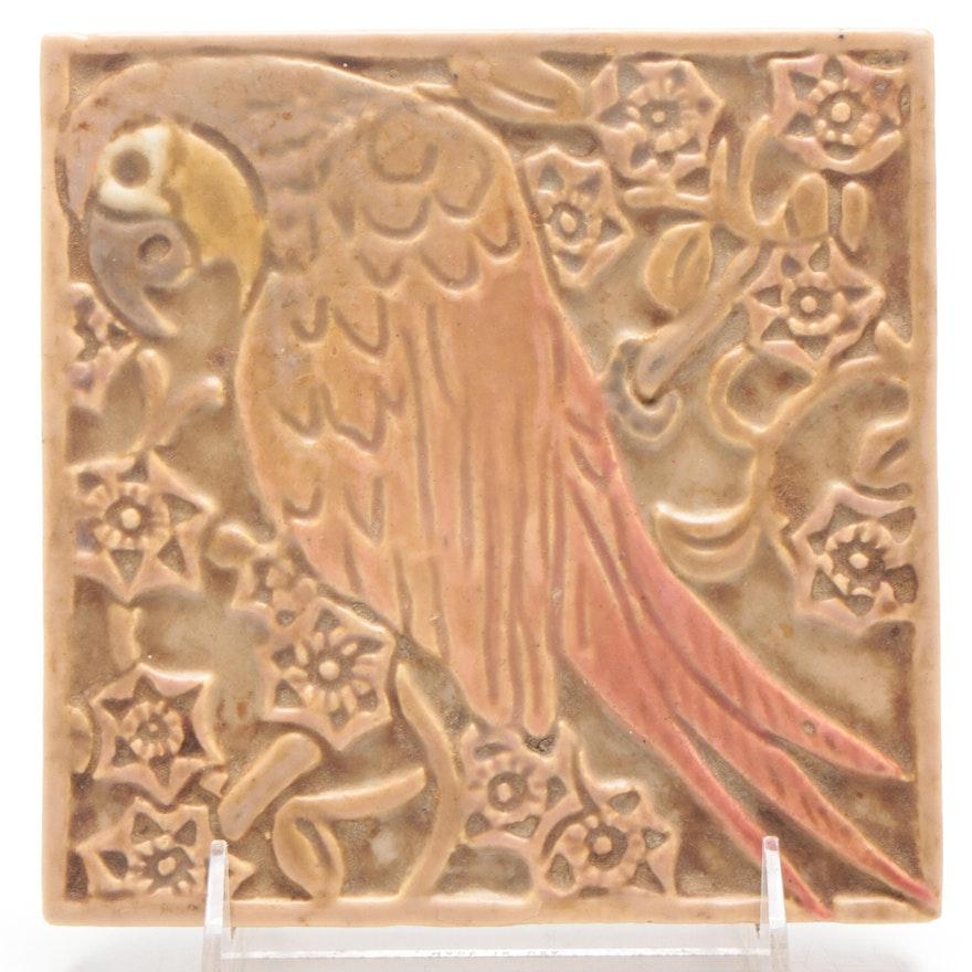 Rookwood Pottery Faïence Parrot Tile, 1886