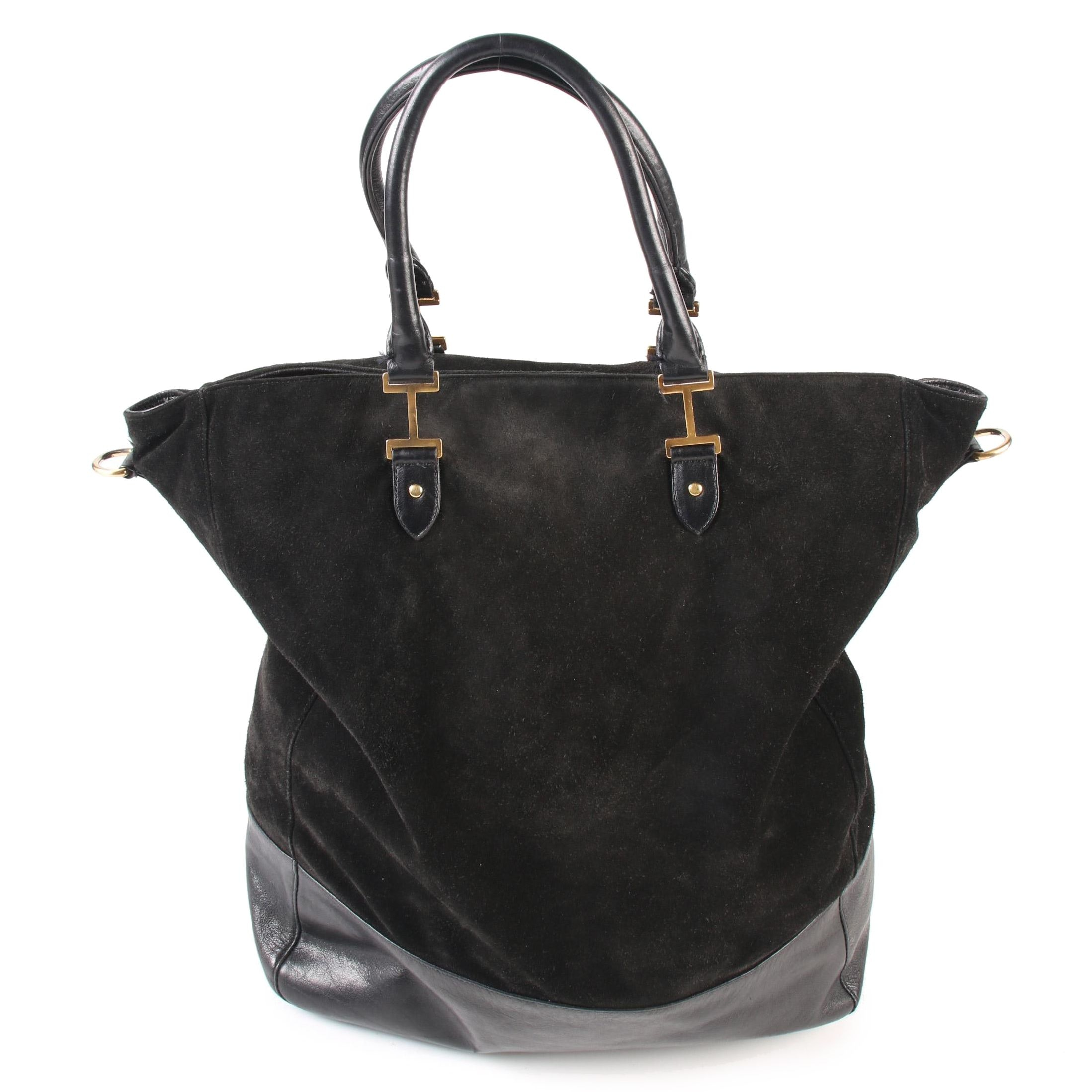 Isaac Mizrahi Black Suede and Leather Trimmed Tote