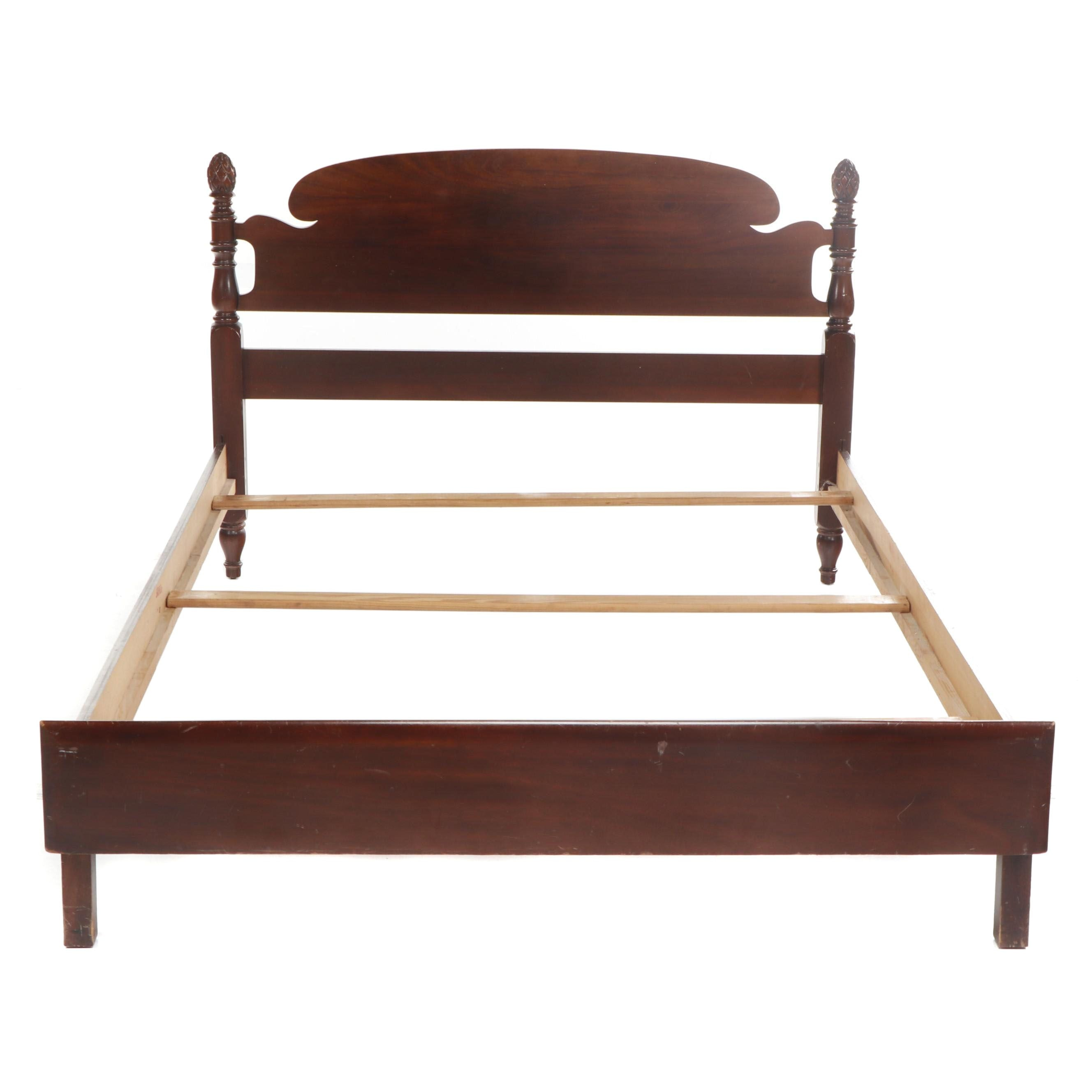 Transitional Federal Style Mahogany Full Bed Frame