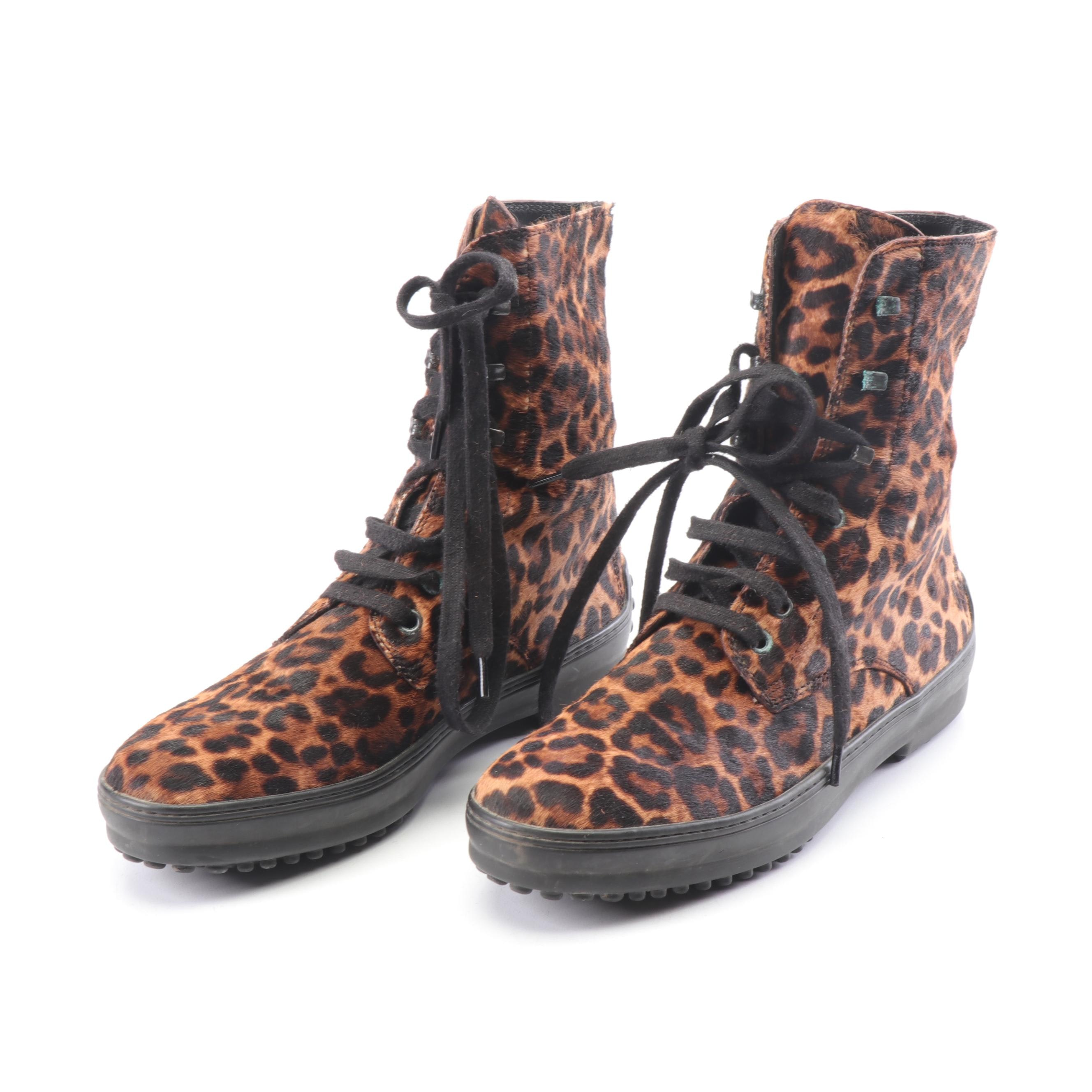 Tod's Leopard Print Pony Hair Boots