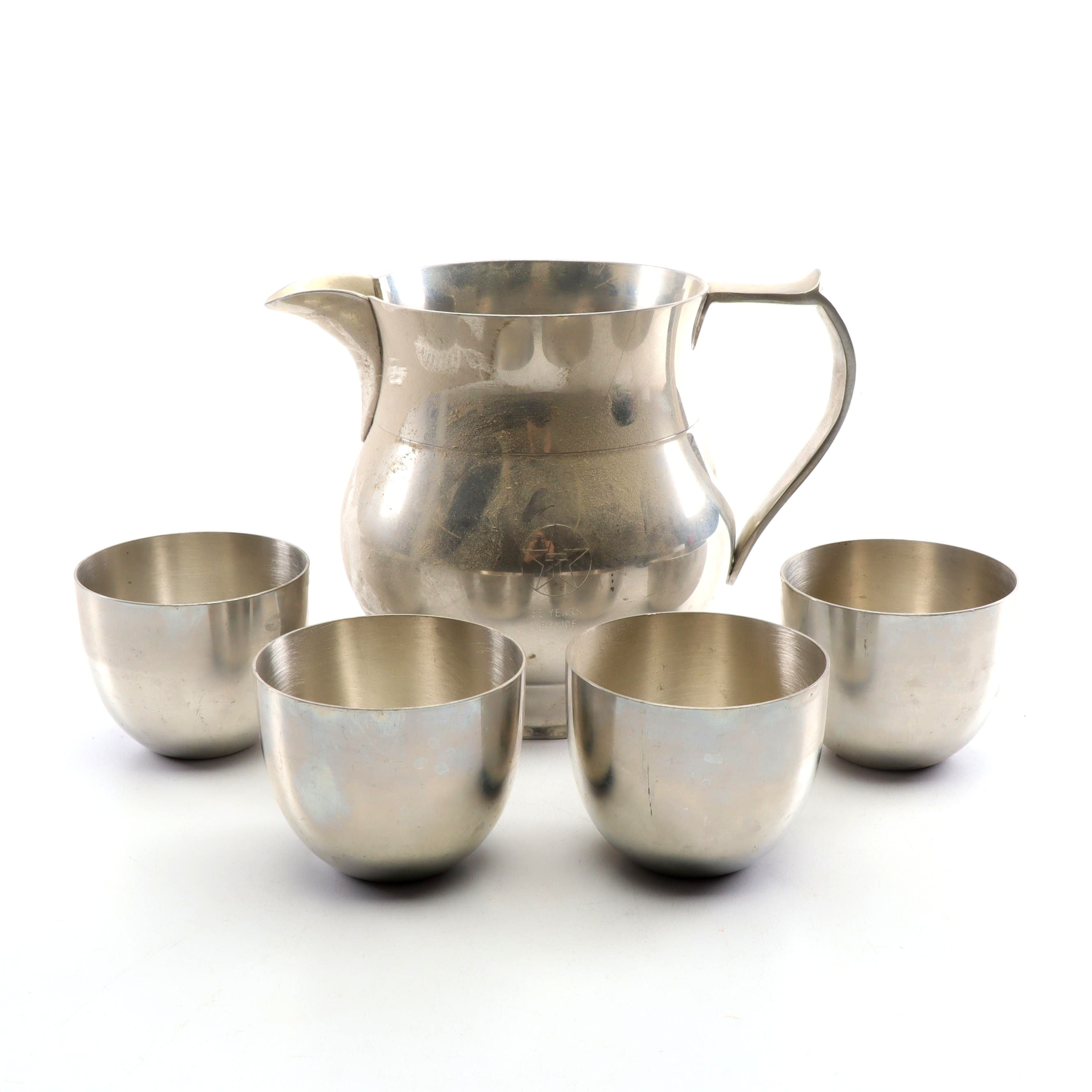 Old Sturbridge Pitcher and Reproduction Pewter Jefferson Cups