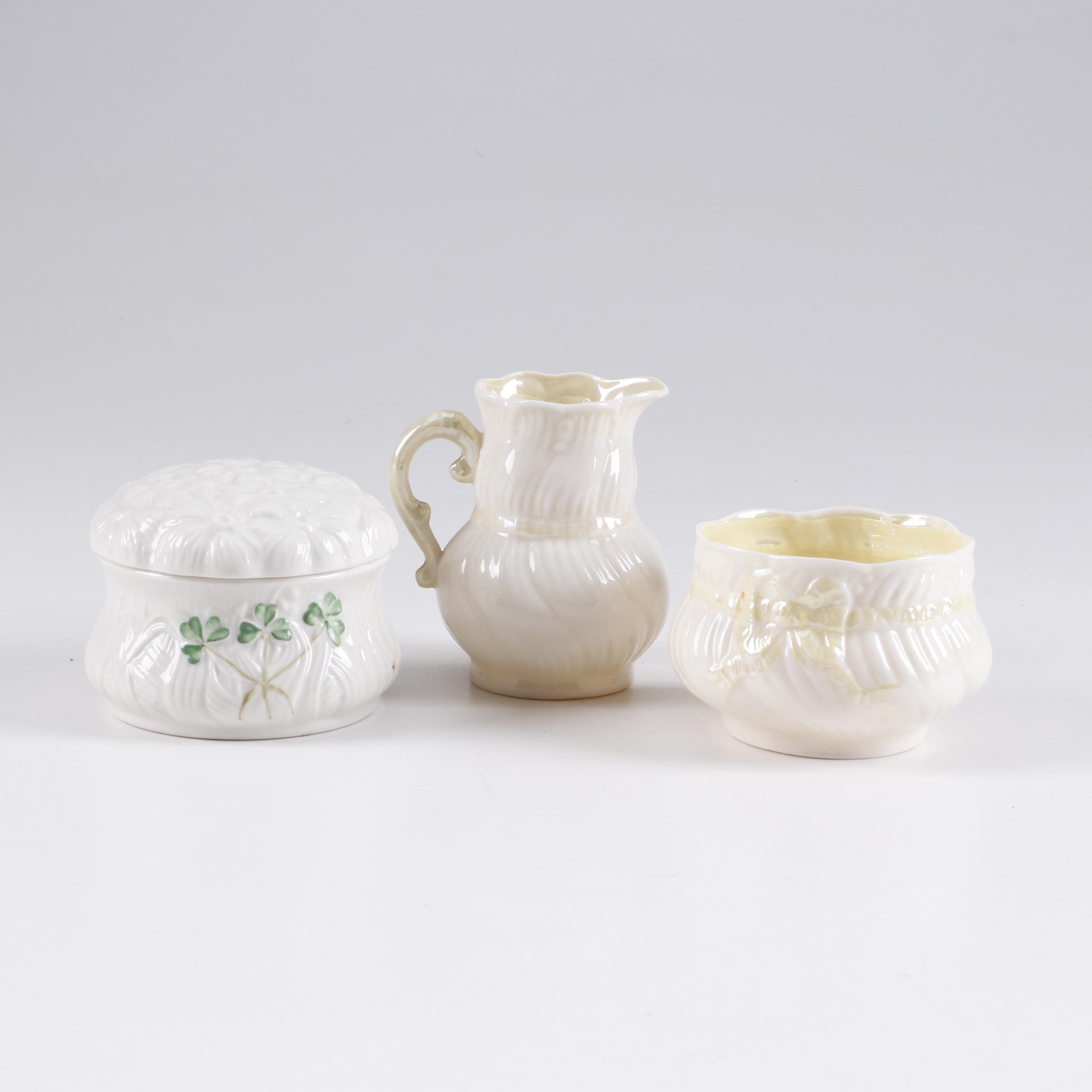Beleek Porcelain Creamer, Sugar Bowl and Covered Dish