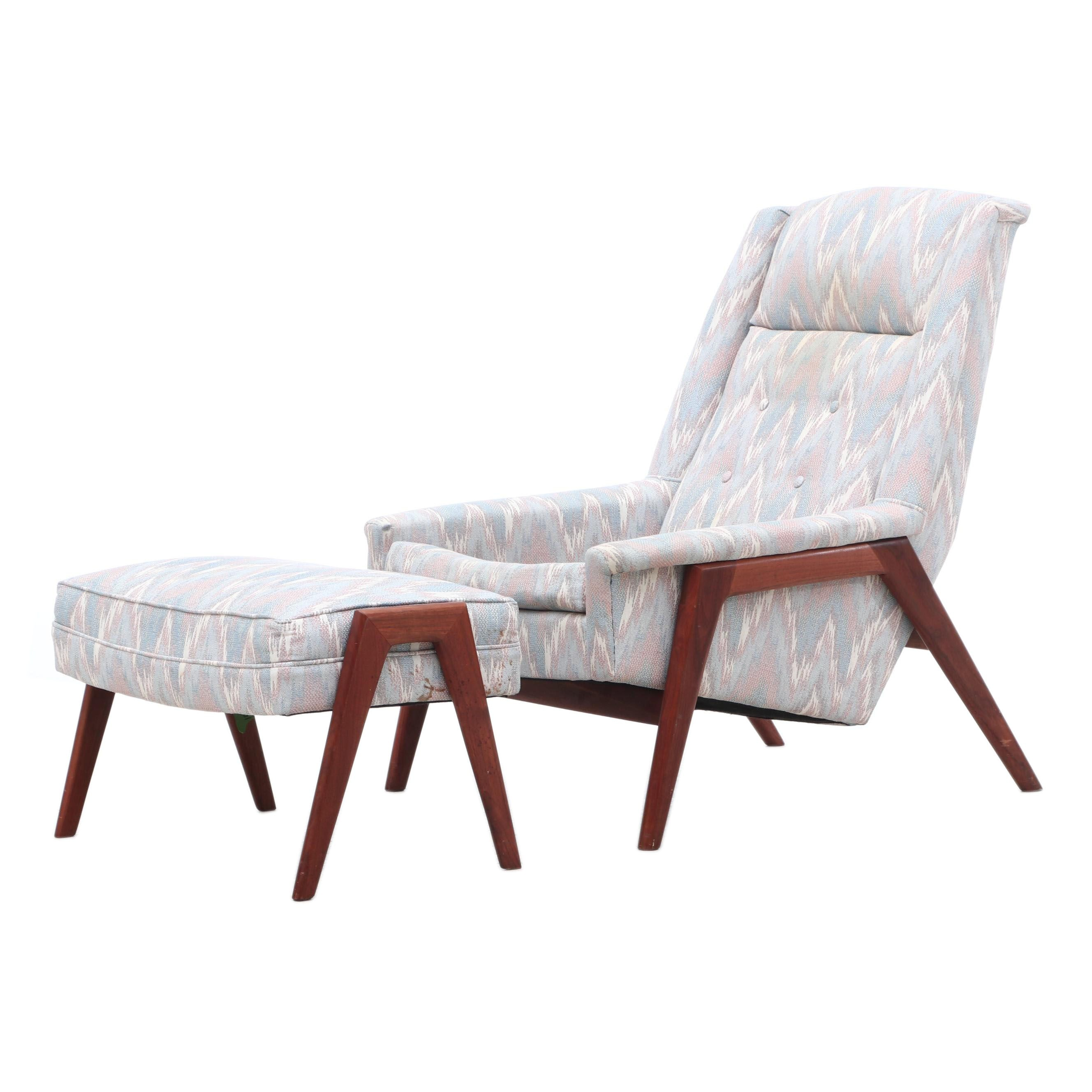 Mid Century Modern Upholstered Arm Chair with Ottoman