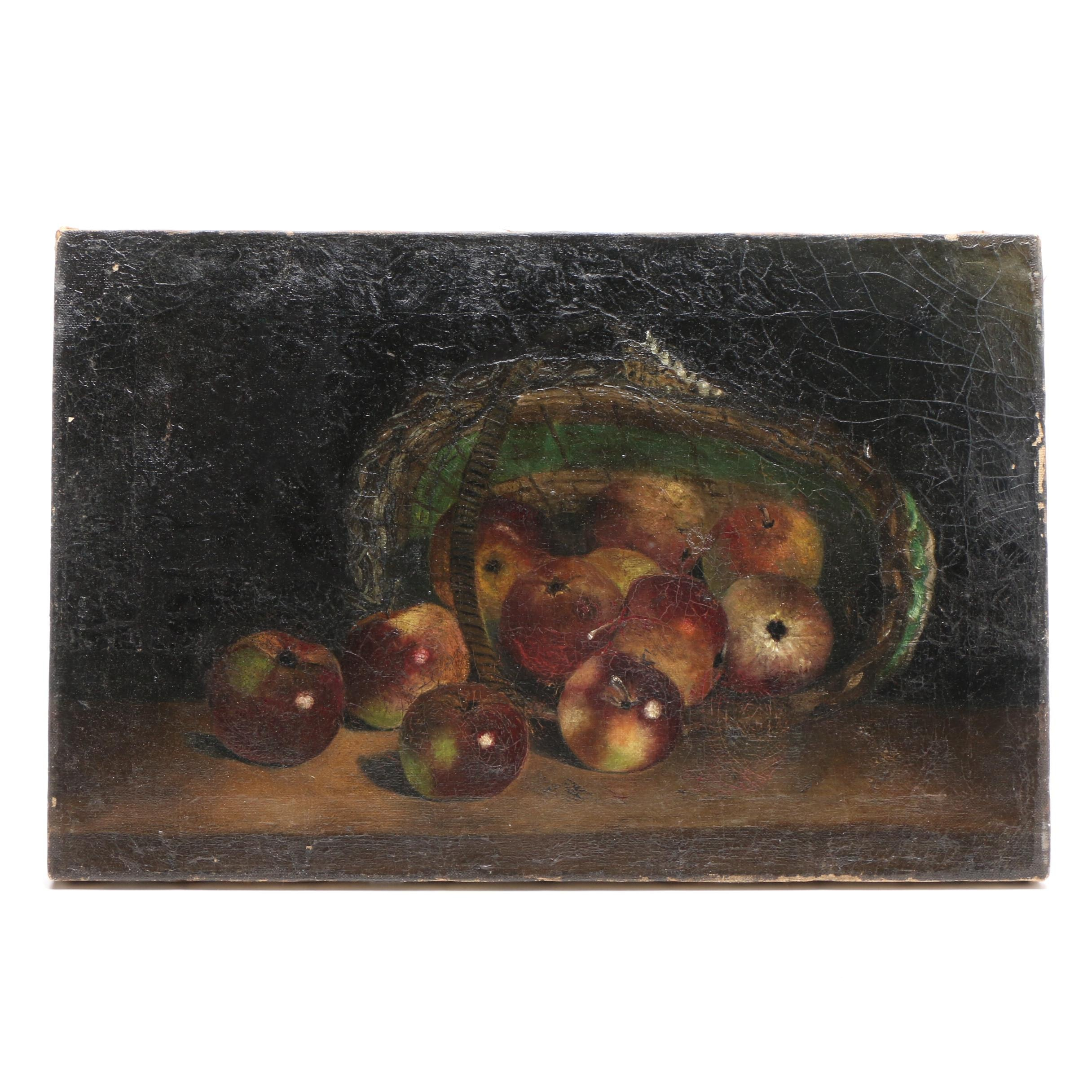 Apples and Basket Still Life Oil Painting