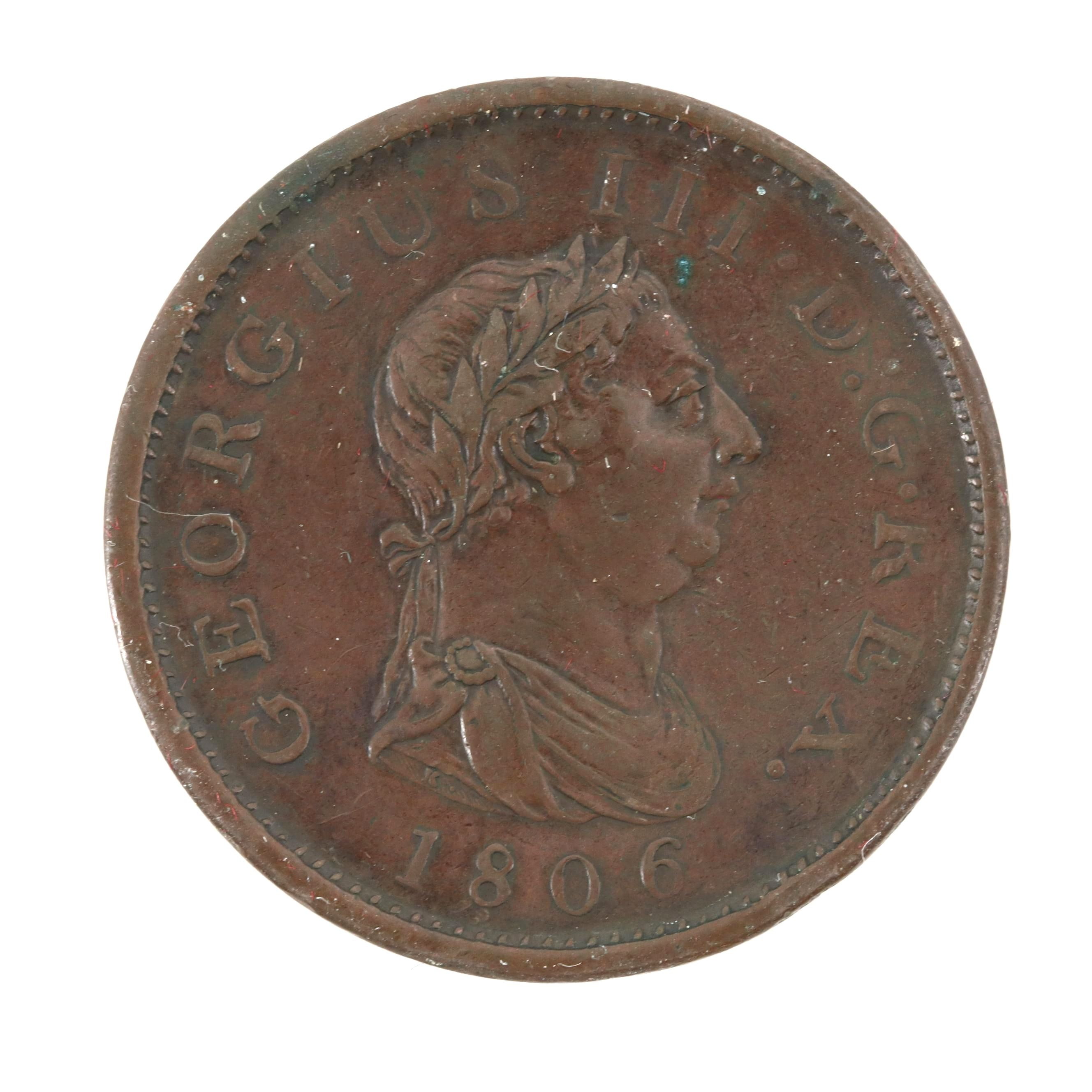 1806 Great Britain 1-Penny Copper Coin of King George III