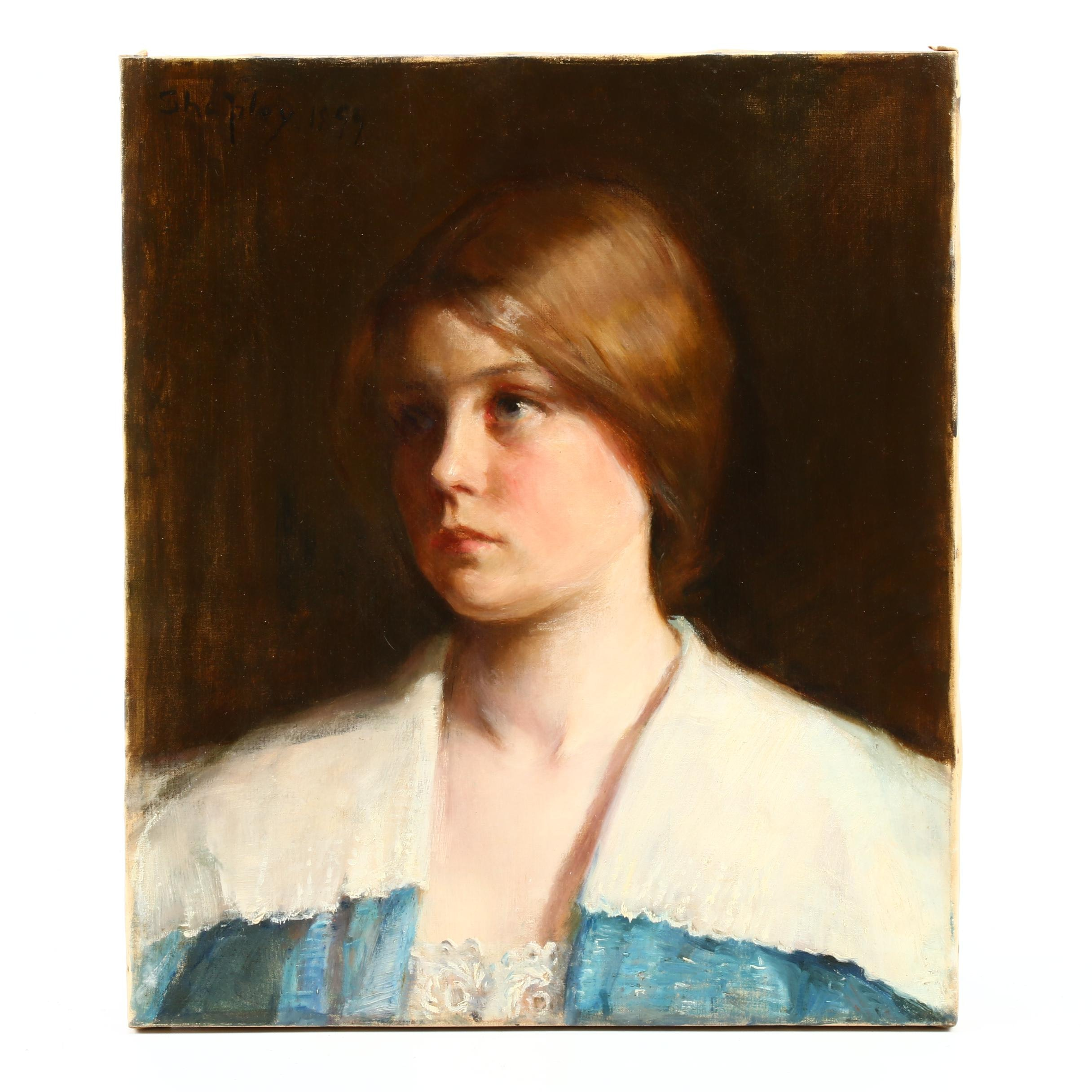 Attributed to Annie Barrows Shepley Portrait Oil Painting