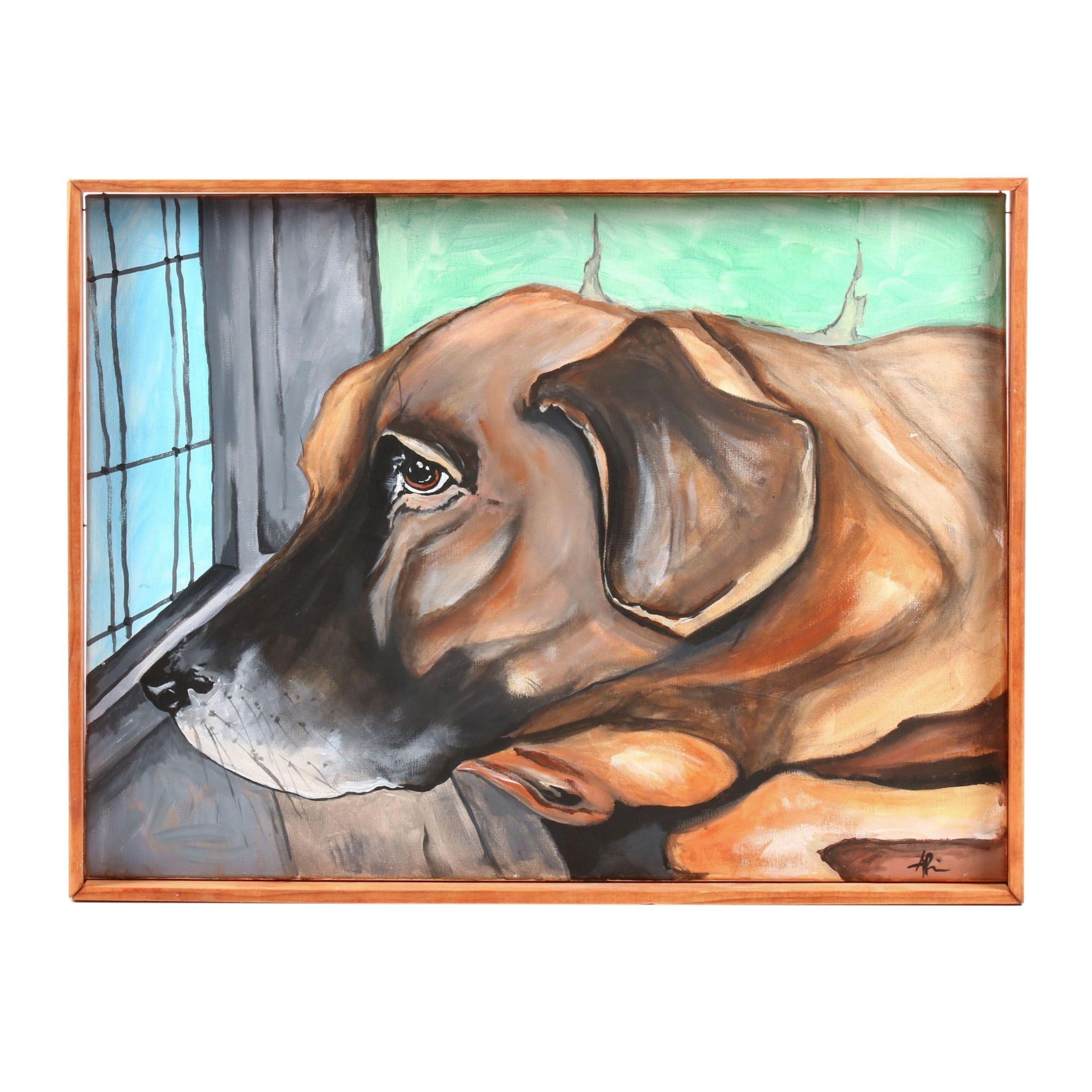 Angela Phipps Acrylic Painting of Dog Portrait
