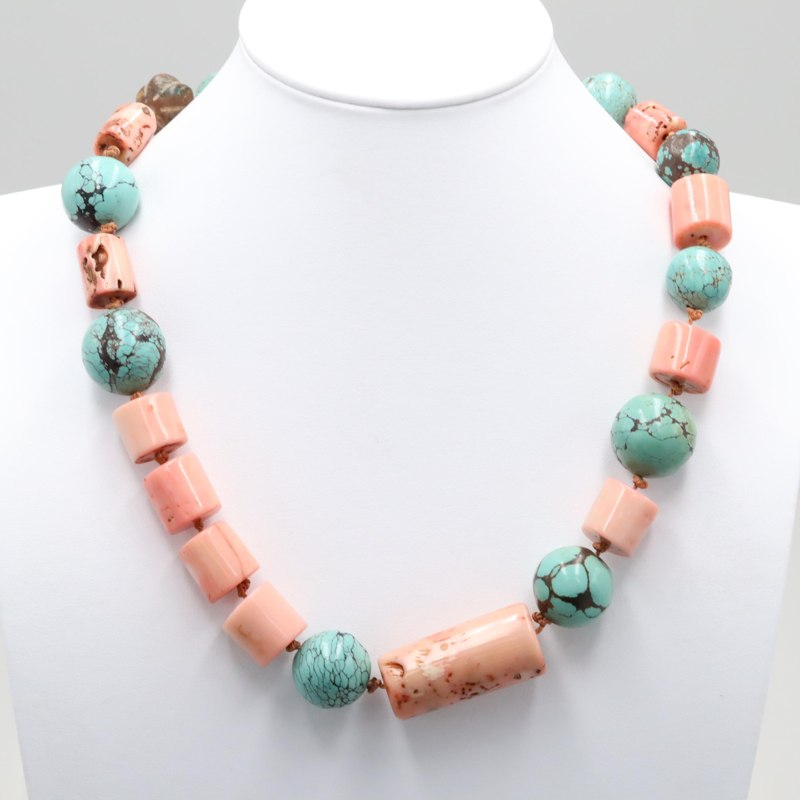 Gold Tone Coral, Turquoises and Glass Hand Knotted Bead Necklace