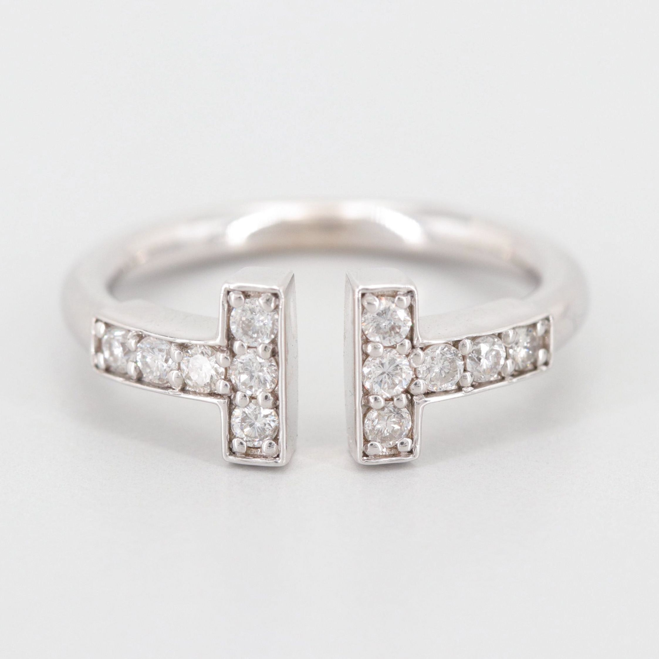 "14K White Gold Diamond ""T"" Ring"