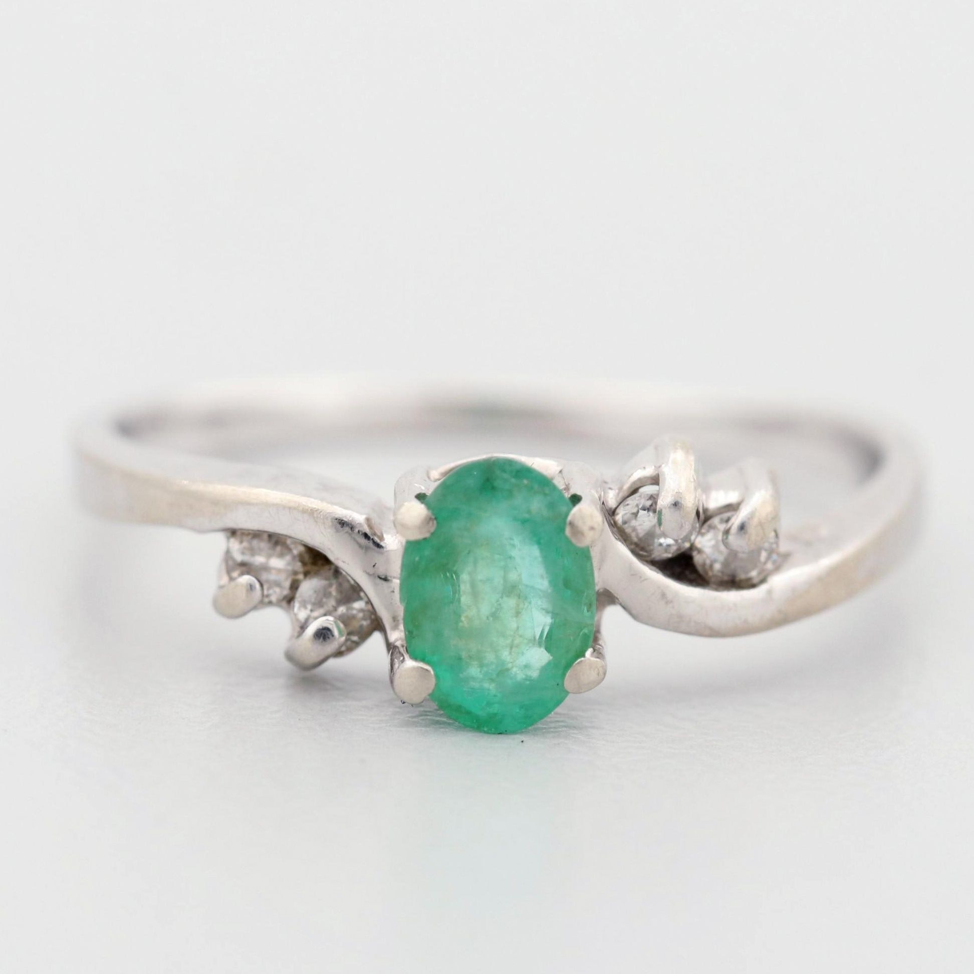 10K White Gold Emerald and Diamond Ring