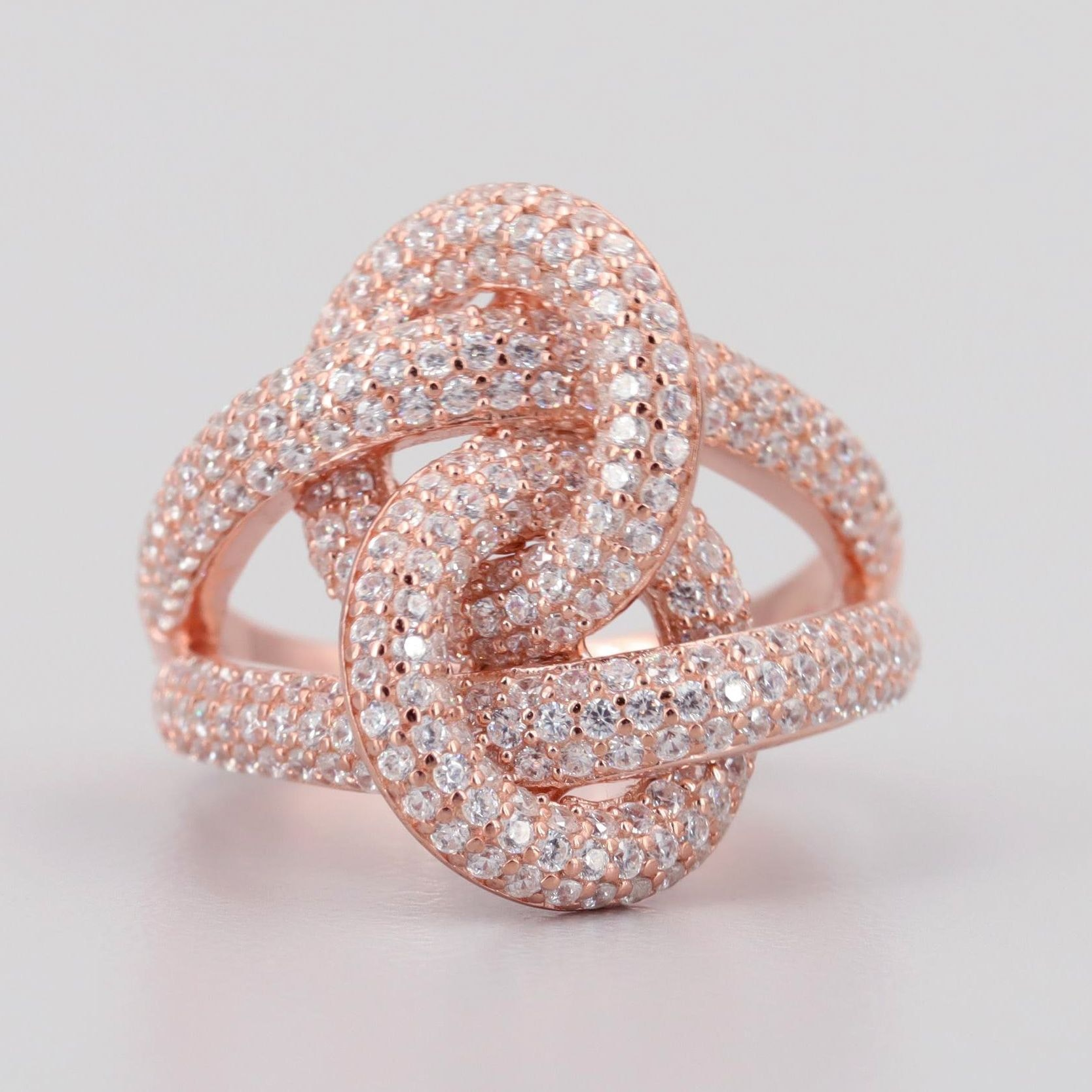 Rose Tone Wash on Sterling Silver Cubic Zirconia Ring
