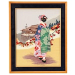 Japanese Embroidery of Maiko and Kiyomizudera Temple