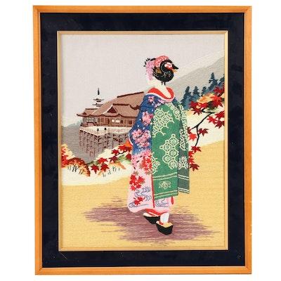 Japanese Embroidery of Maiko and Kiyomizudera Temple