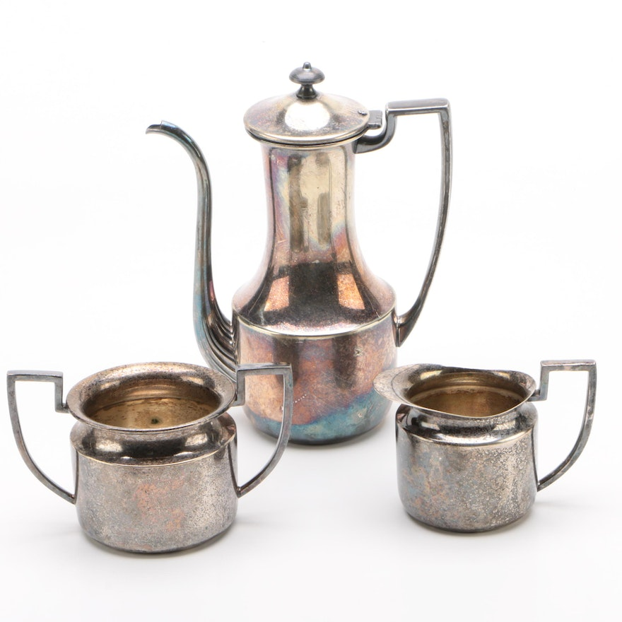 "Bernard Rice's Sons Silver Plate ""Apollo"" Coffeepot, Creamer, and Sugar Bowl"