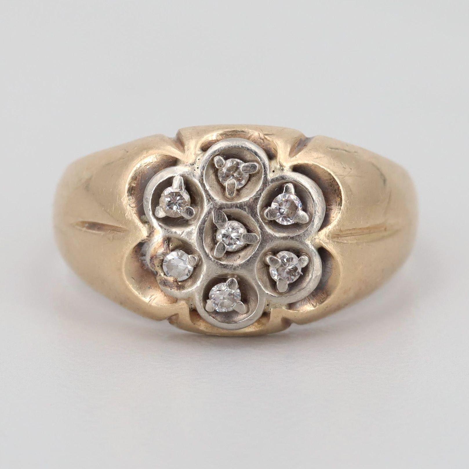 10K Yellow Gold Diamond Floral Ring