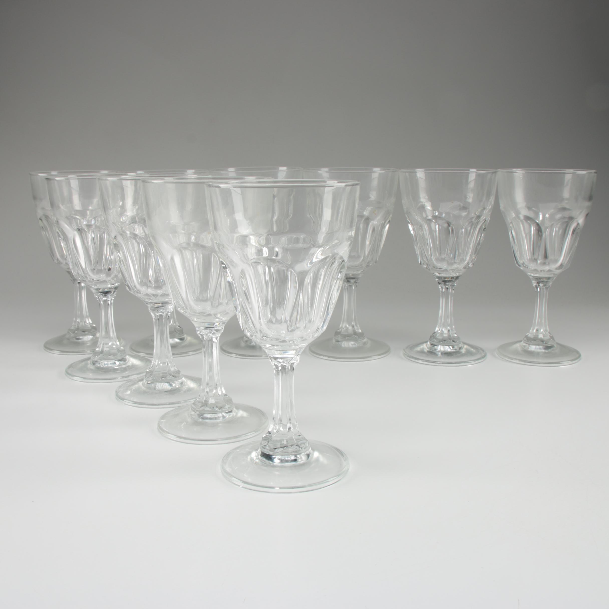 Arcoroc Thumbprint Glass Water Goblets