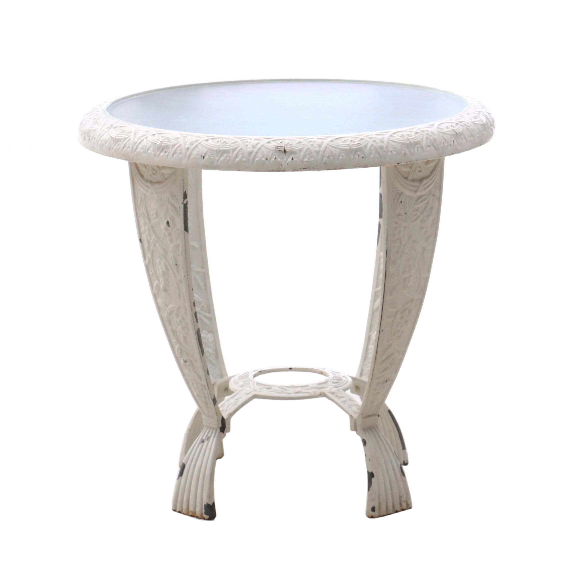 Metal End Table with Frosted Glass Top