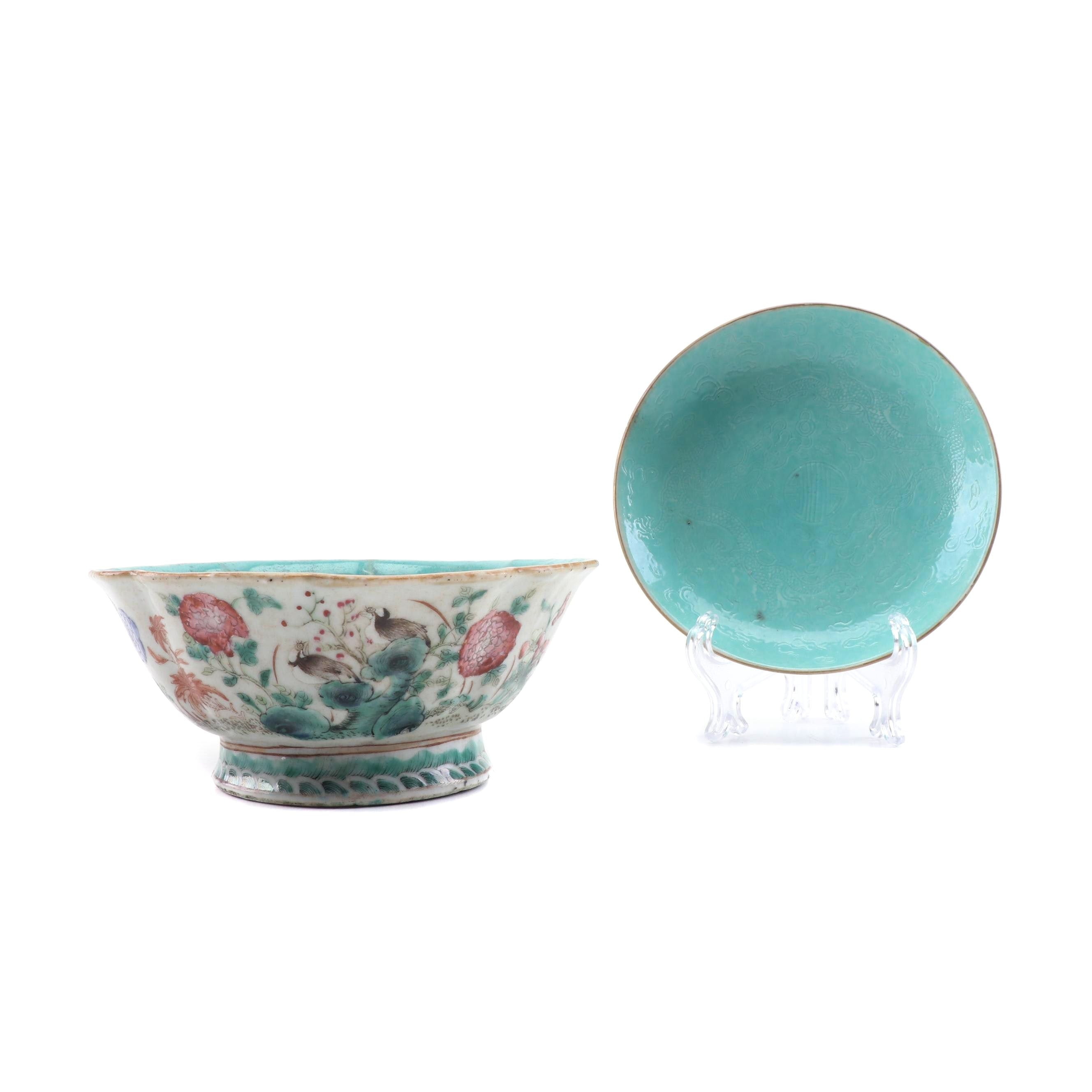 Chinese Polychrome Porcelain Finger Bowl and Dish