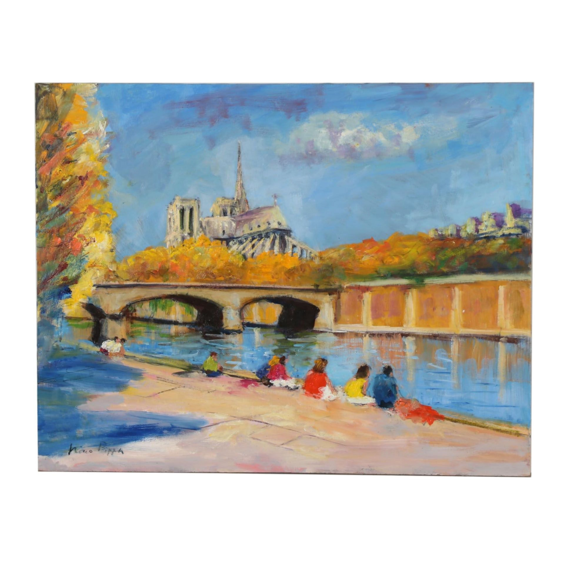 "Nino Pippa Oil Painting ""France-Paris, Notre Dame from Rive Gauche"""