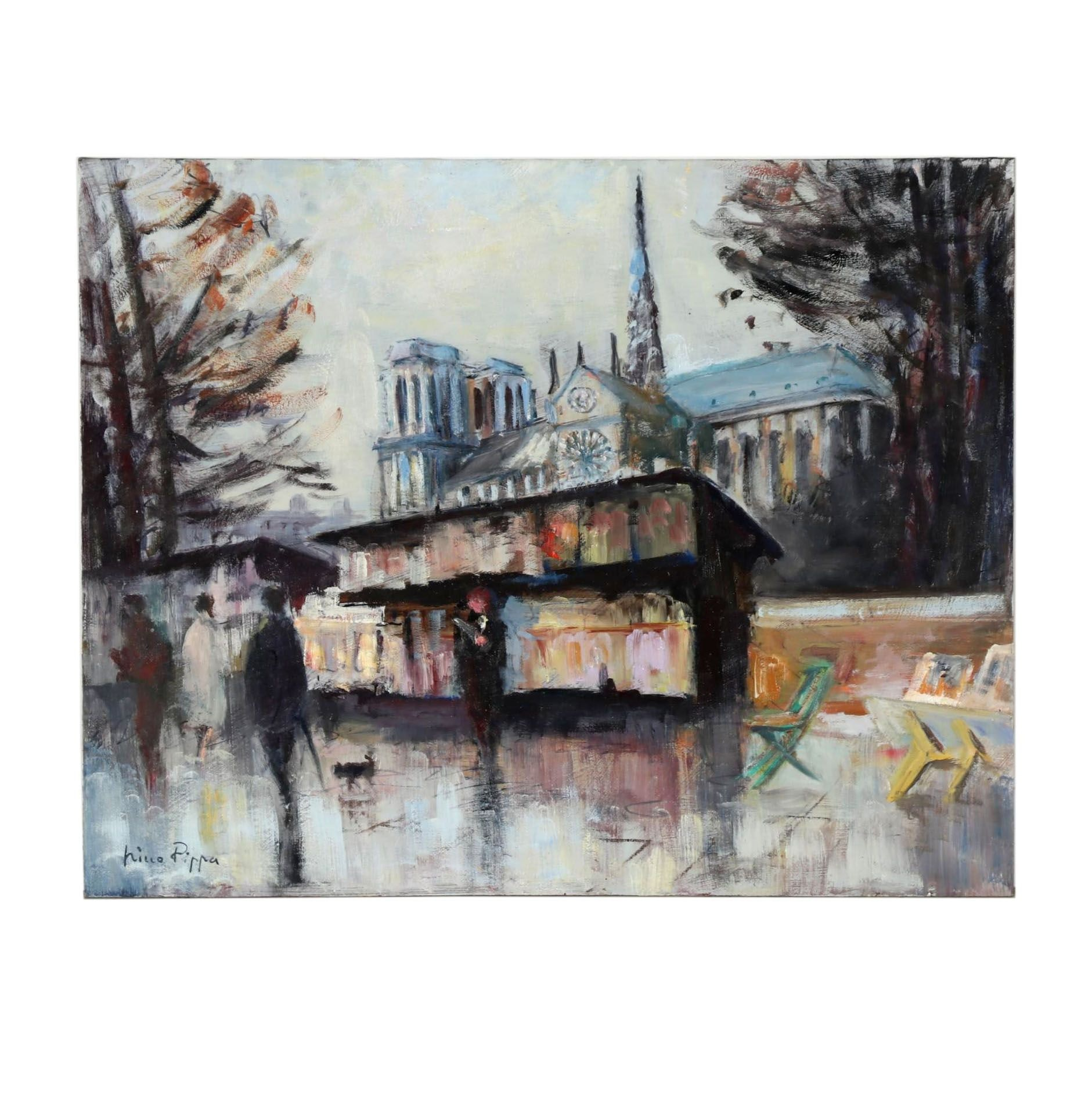 "Nino Pippa Oil Painting ""France - Paris - Rive Gauche Book Stalls by Notre Dame"""