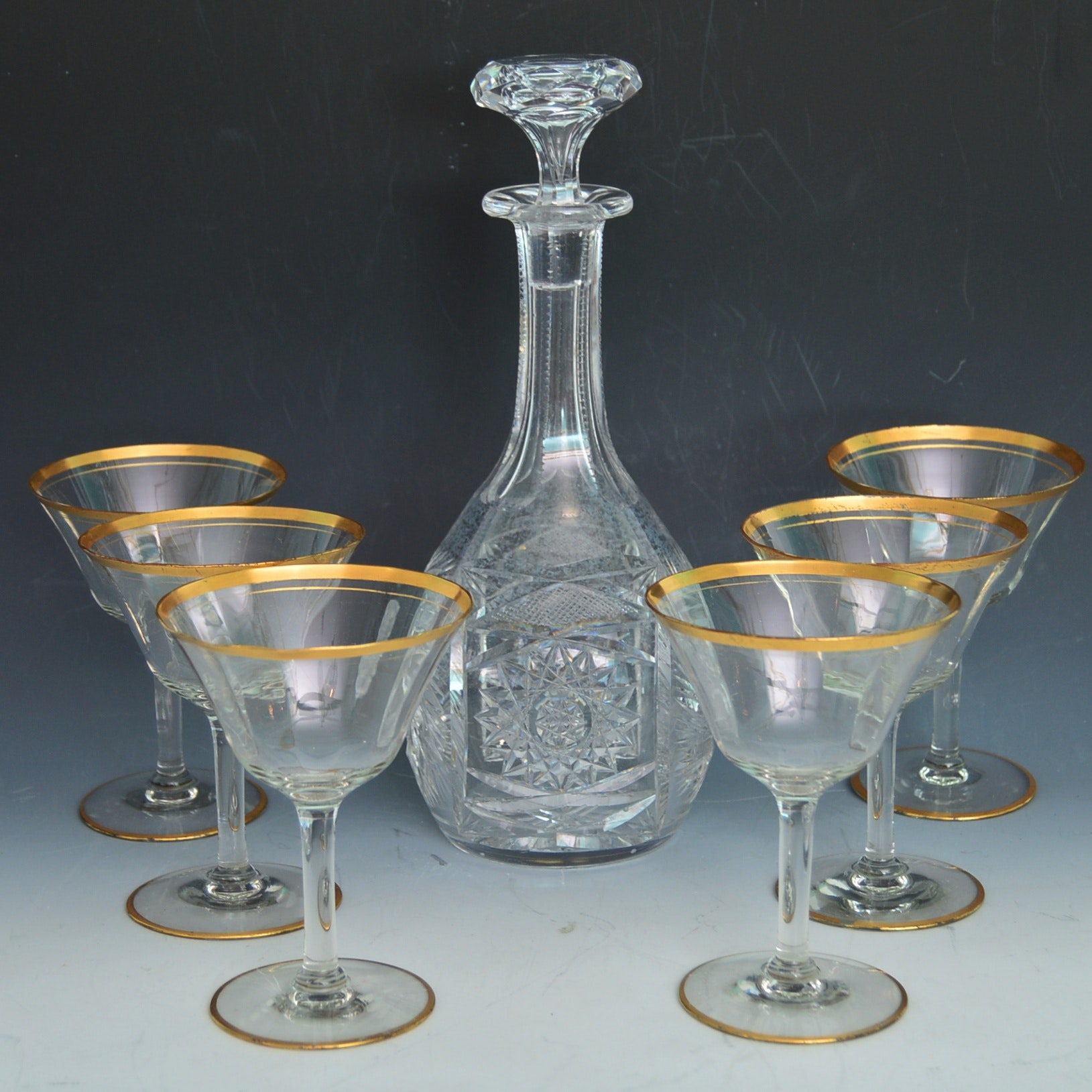 Set of Gold-Banded Champagne Coupes, Pressed Glass Liquor Decanter, Vintage