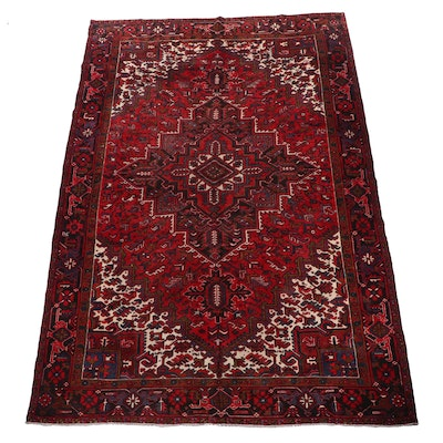 Hand-Knotted Persian Heriz Wool Room Sized Rug