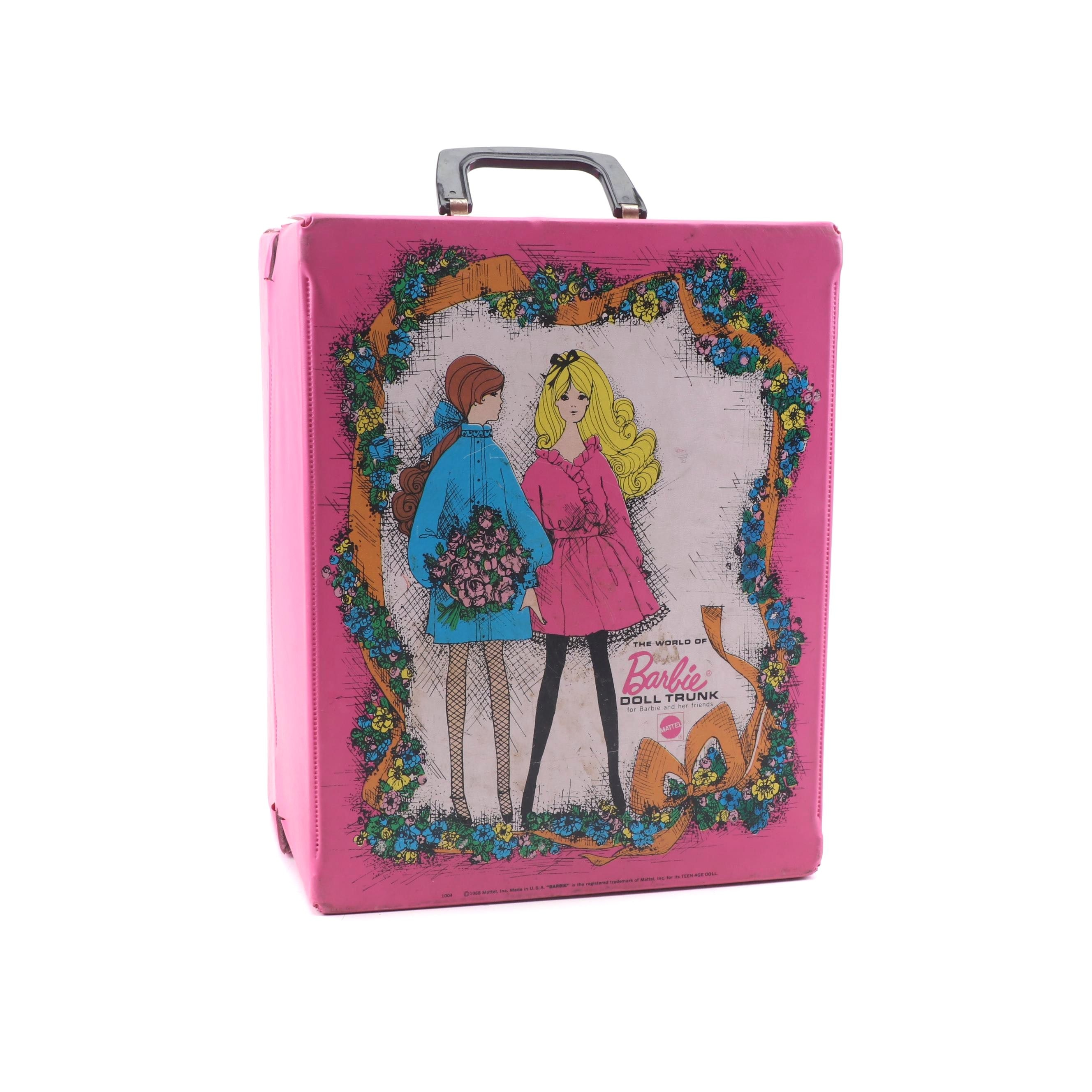 Barbie Dolls, Accessories, and Case from the 1960's and 70's