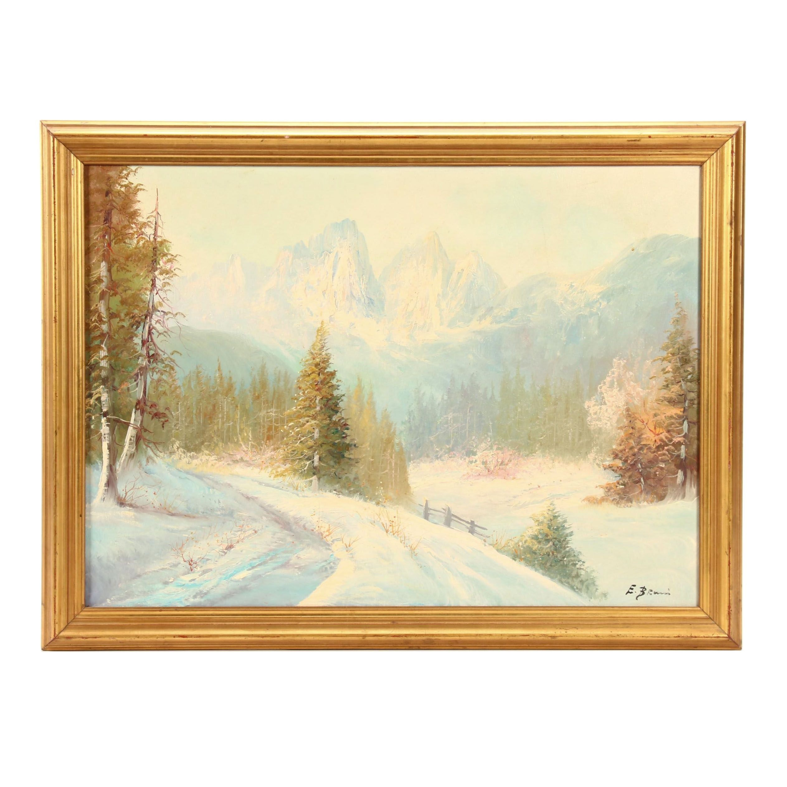 Alpine Landscape Oil Painting