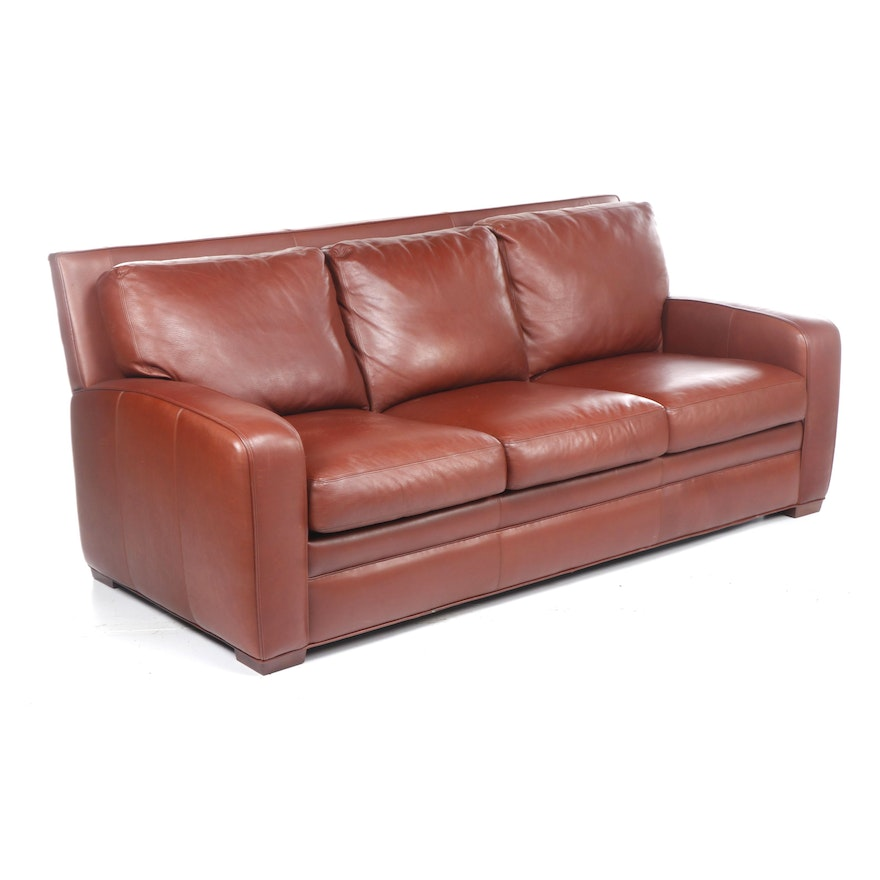 Contemporary Crate & Barrel Red Leather Sleeper Sofa with Teak Feet