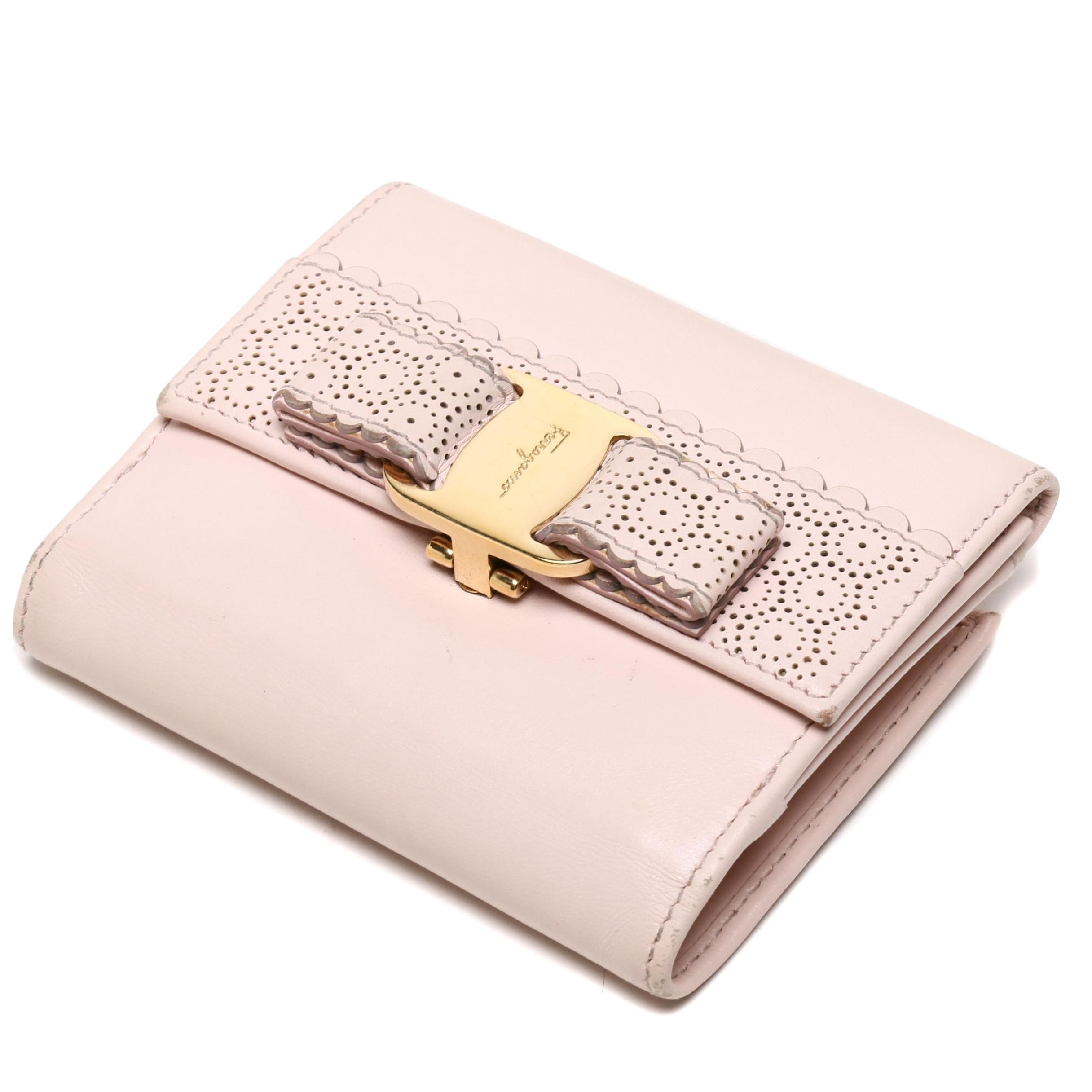 Salvatore Ferragamo Pale Pink Perforated Leather Bifold Wallet