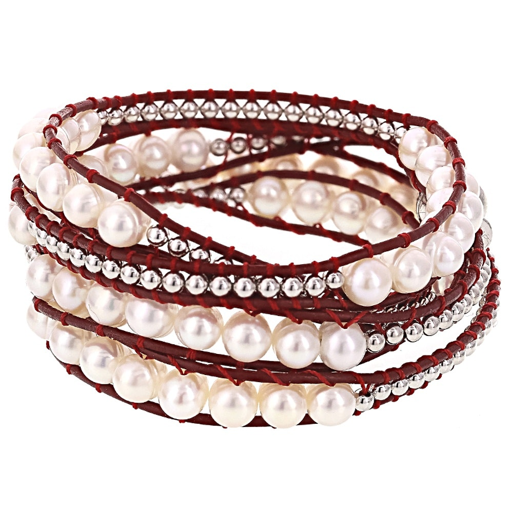 Sterling Silver Cultured Pearl Wrap Bracelet