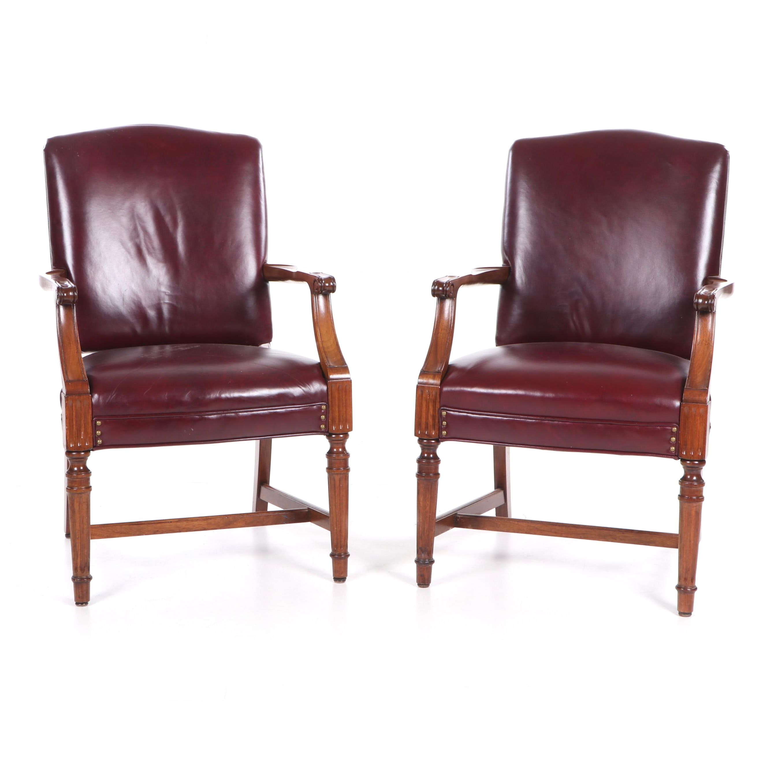 Directoire Style Wood and Vinyl Upholstered Armchairs, Mid 20th Century