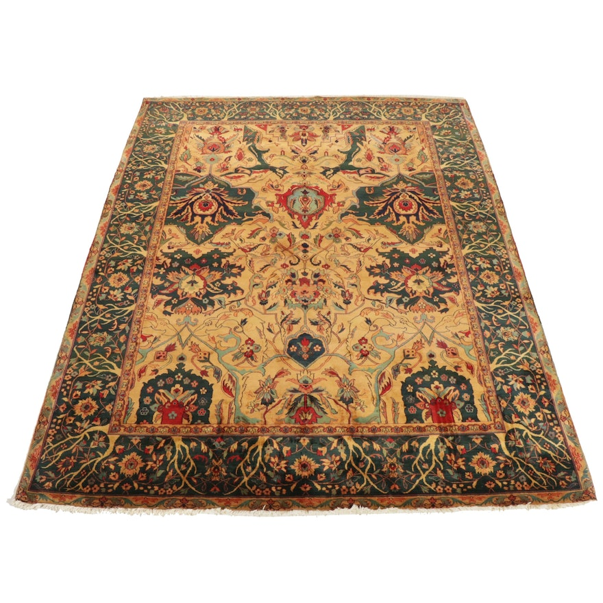 Hand-Knotted Noble House Indian Agra Room Sized Wool Rug, Contemporary