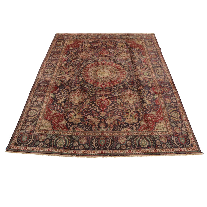 Hand-Knotted Persian Tabriz Pictorial Room Sized Wool and Cotton Rug