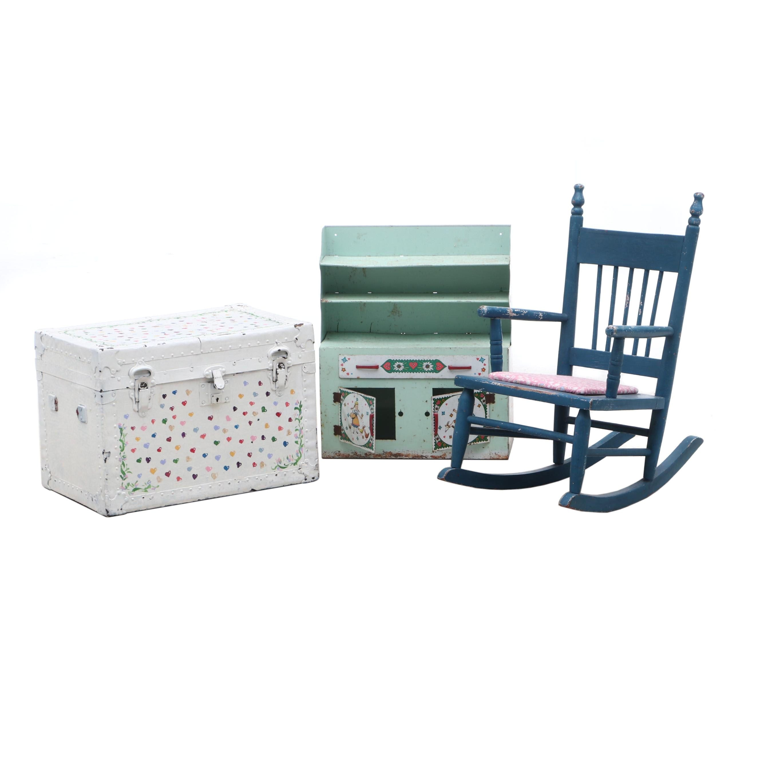 Vintage Child's Rocker, Miniature Cabinet, and Trunk