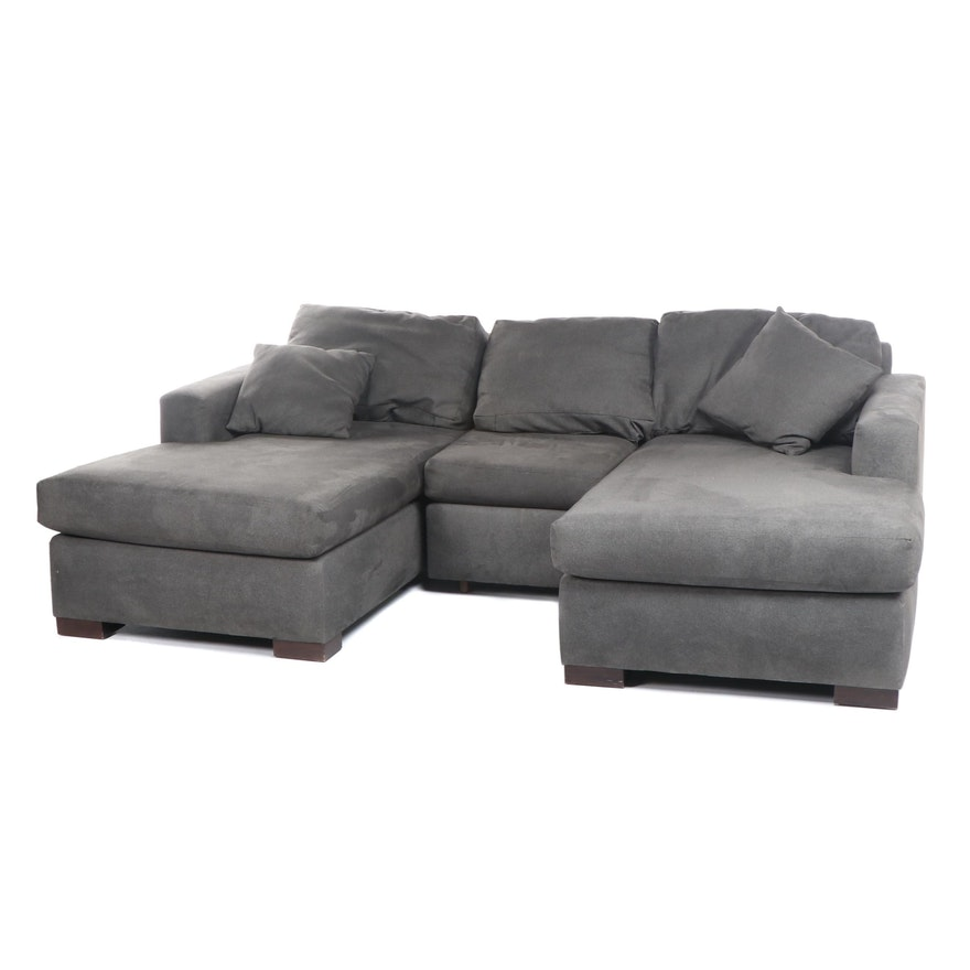 Contemporary Modern Gray Microfiber Upholstered Sectional