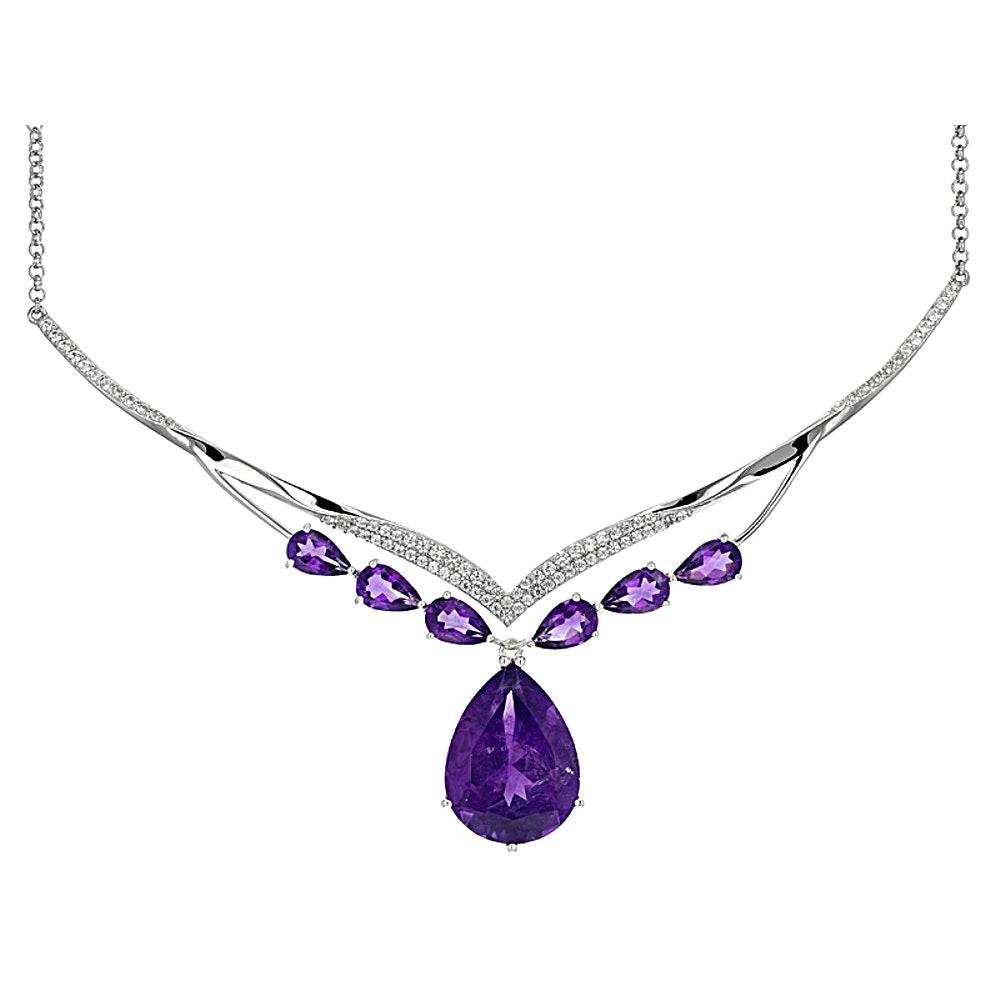 Sterling Silver Amethyst and Zircon Necklace