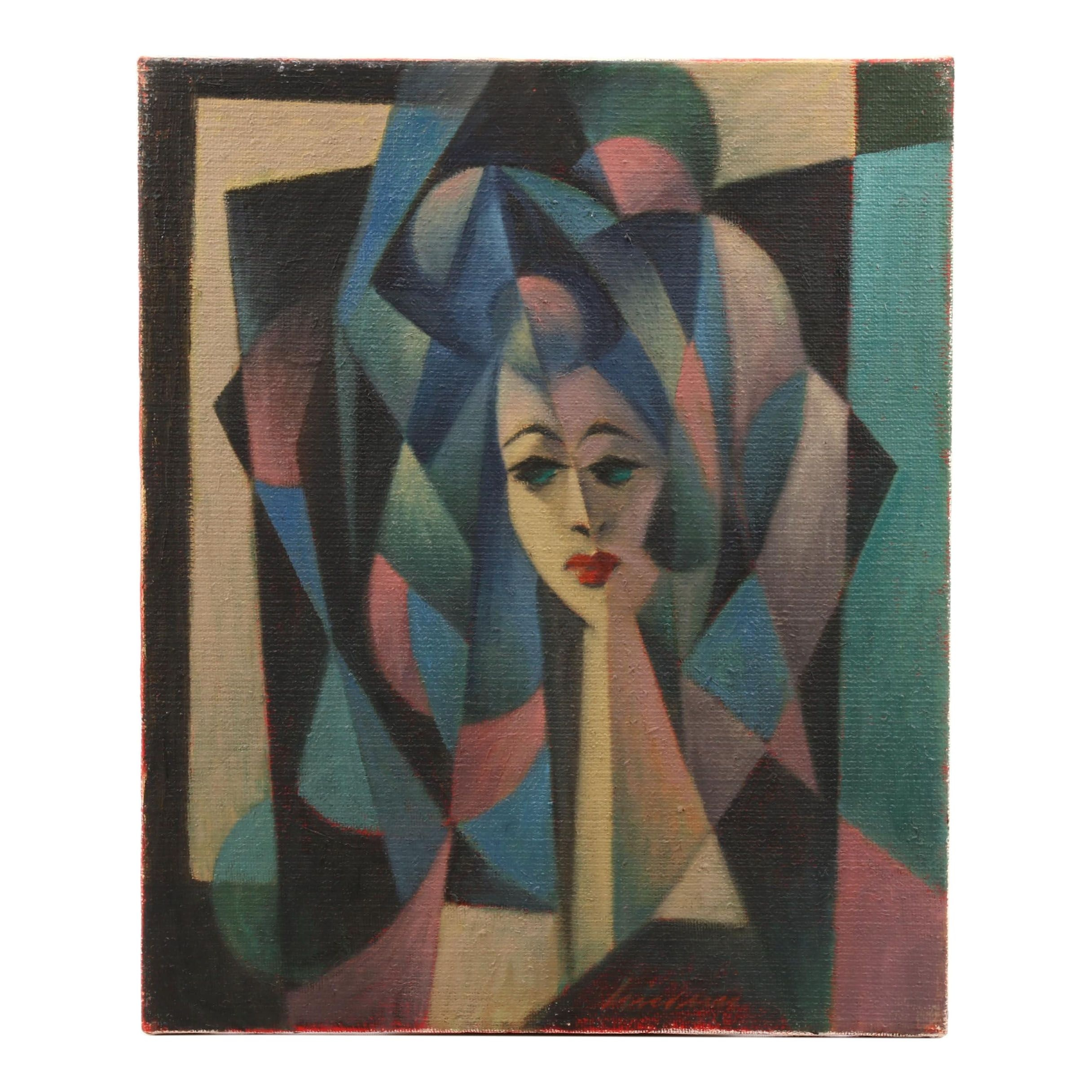 Mid 20th Century Oil Painting of an Abstracted Portrait
