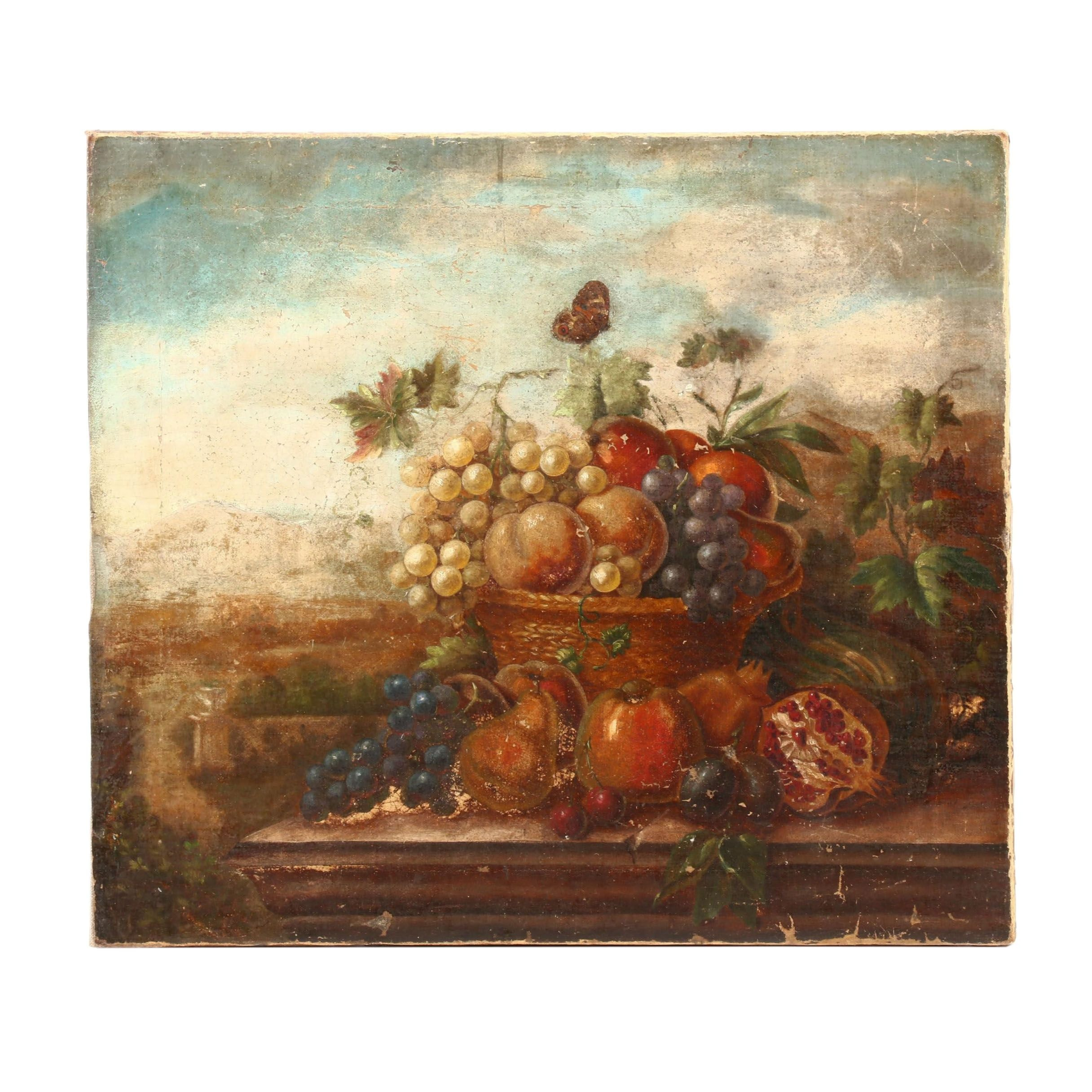 Late 19th Century Oil Painting of Still Life in Landscape