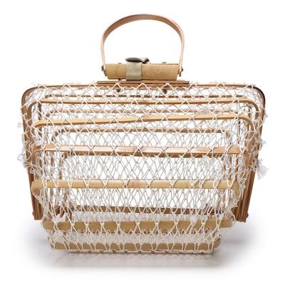 Japanese Bamboo Reed Folding Handbag with Netting, Mid-Century