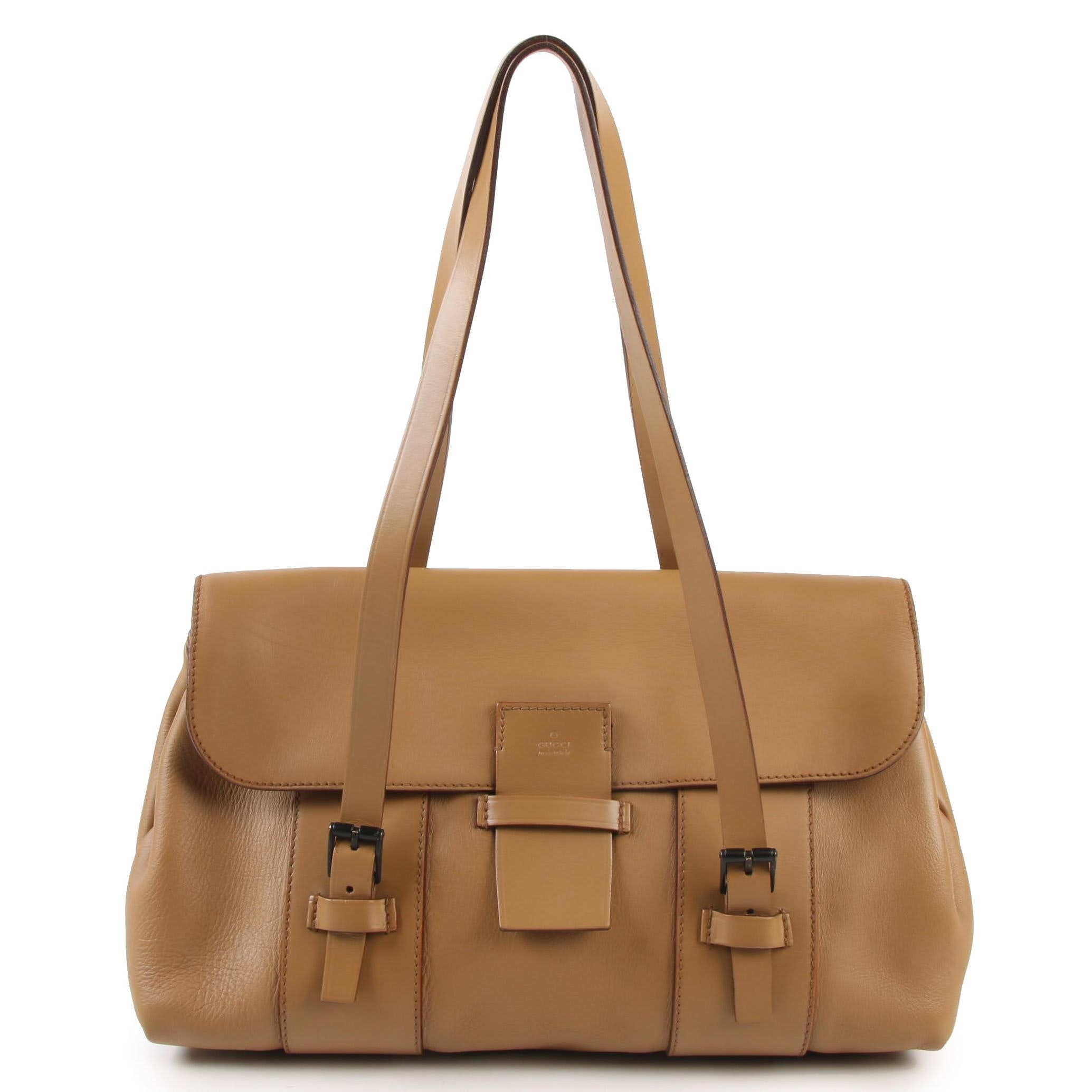 Gucci Flap Front Drawstring Shoulder Bag in Tan Leather with Buckle Straps